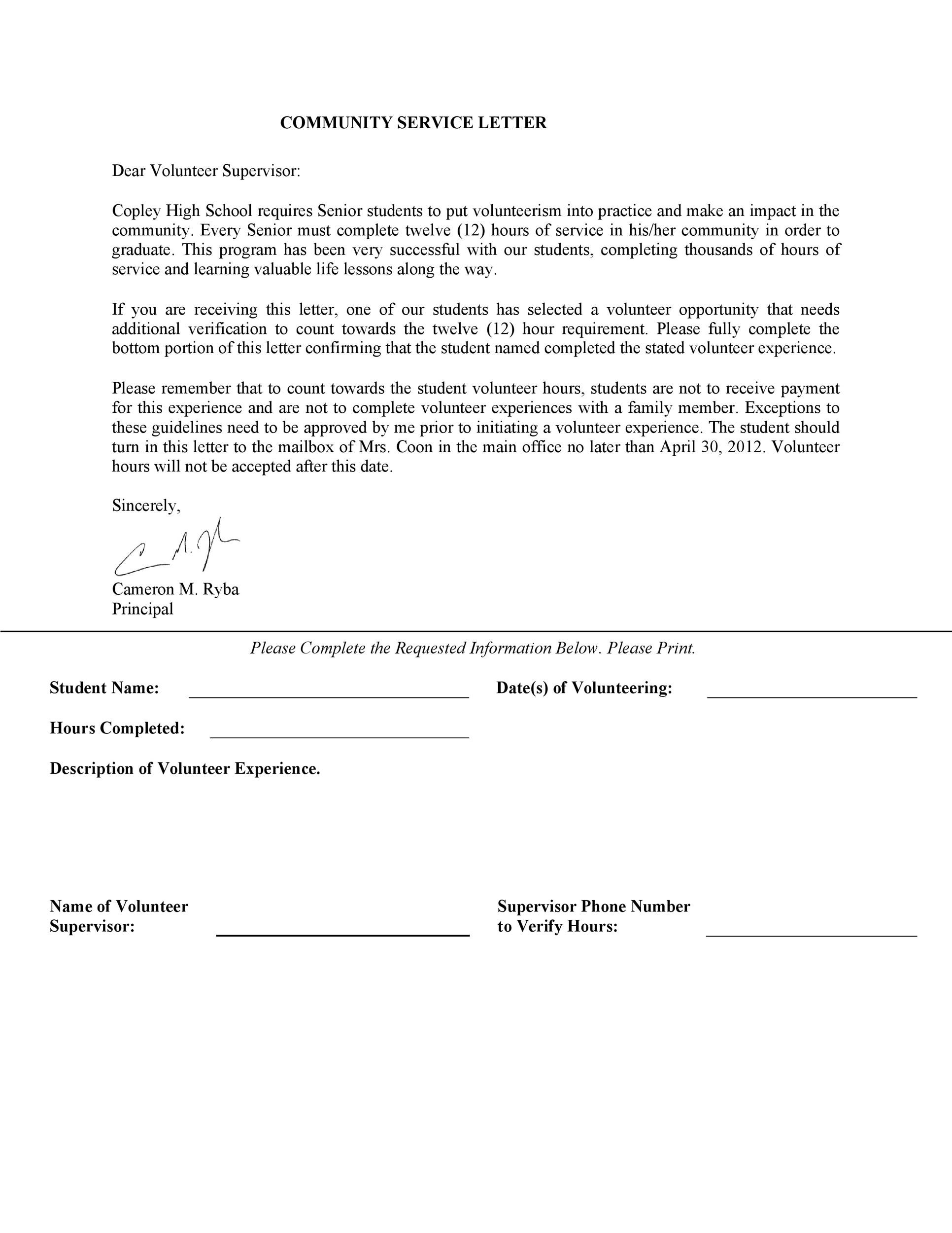 community service letter for student Community Service Letter - 40  Templates [Completion, Verification]