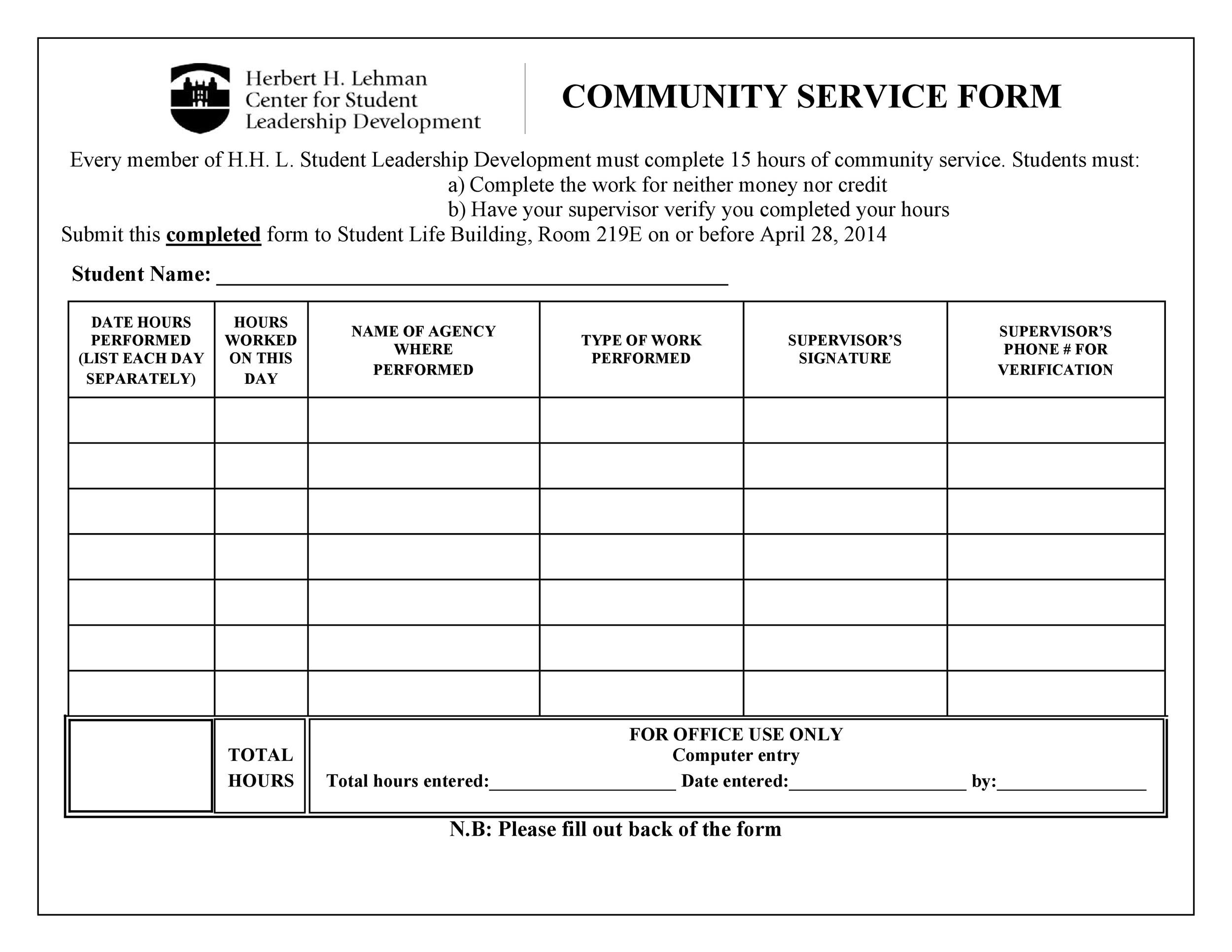 Community Service Letter 40 Templates Completion Verification