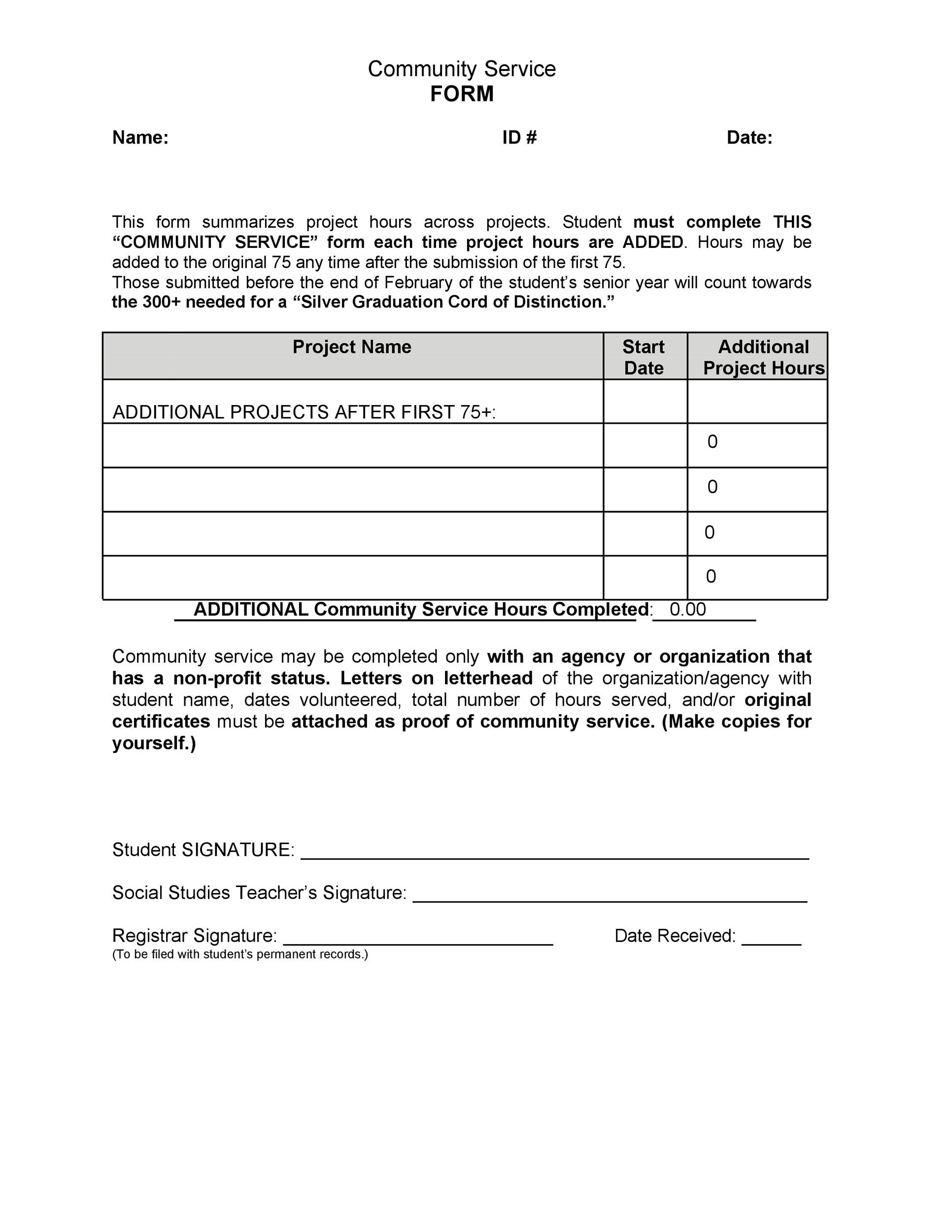 Community service letter 40 templates completion verification printable community service letter template 28 yadclub Images