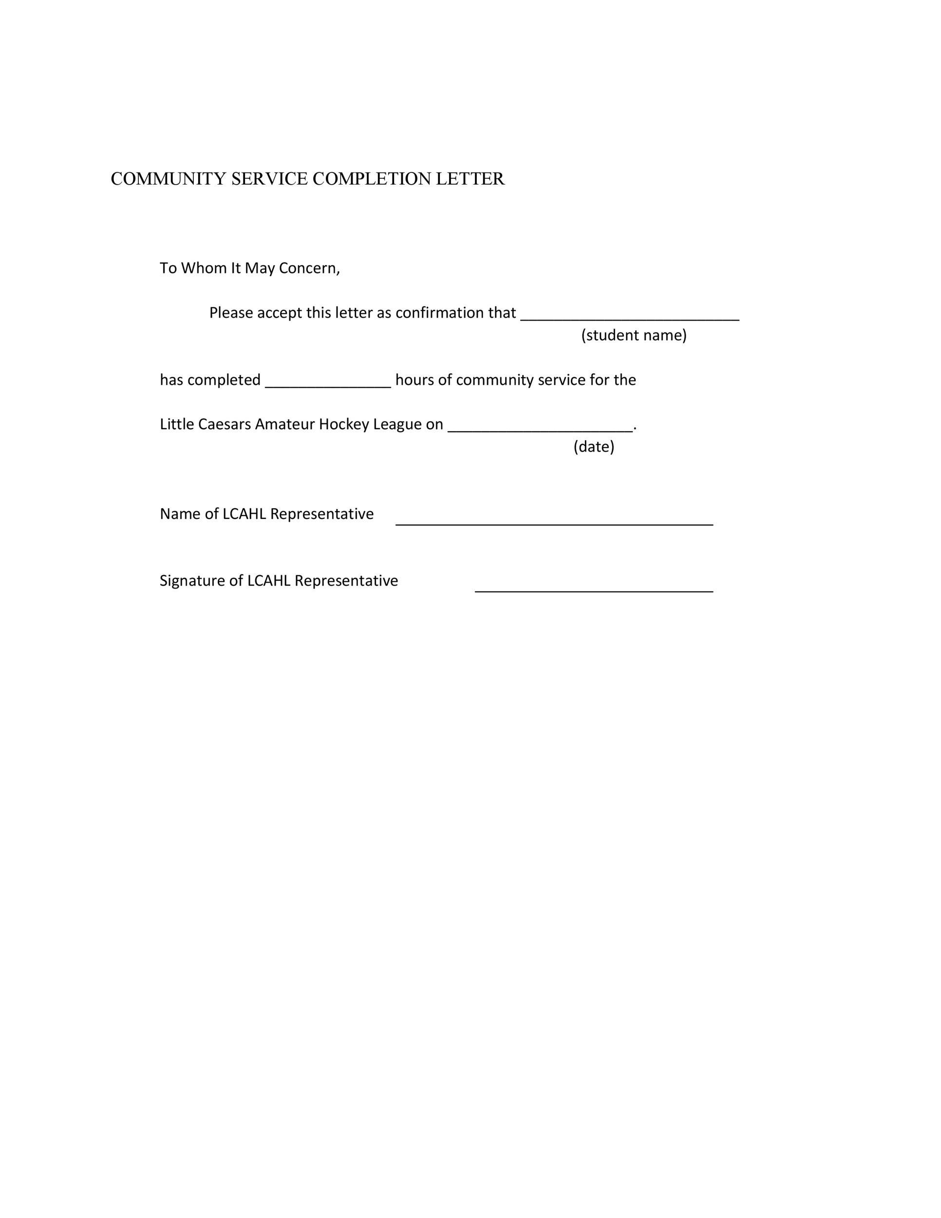 sample community service completion letter Community Service Letter - 40  Templates [Completion, Verification]