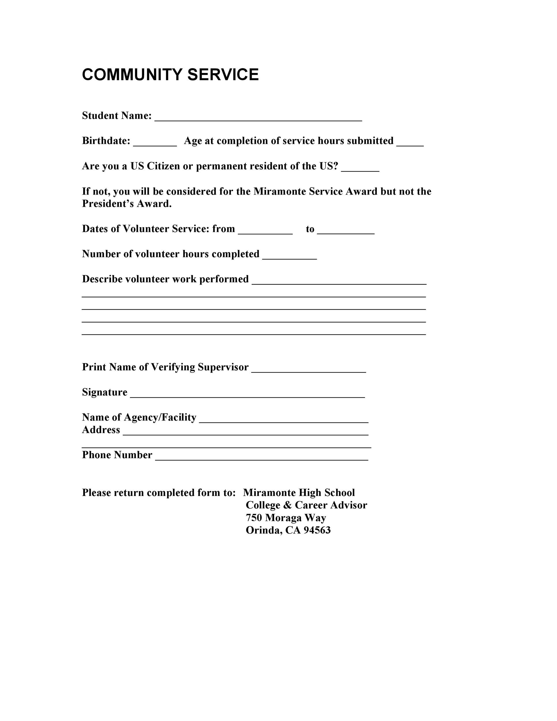 community service hours template Community Service Letter - 40  Templates [Completion, Verification]