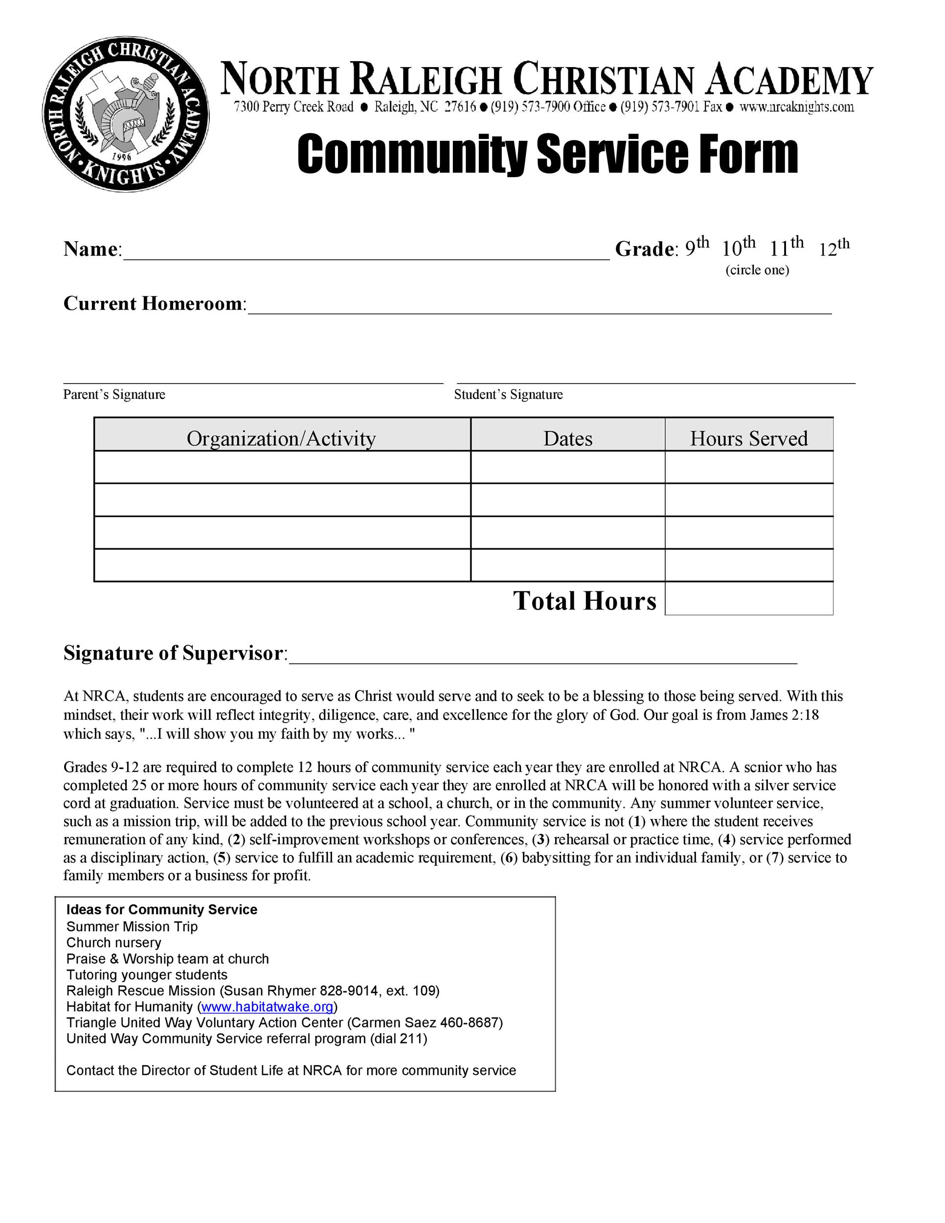 Community Service Letter Template 41