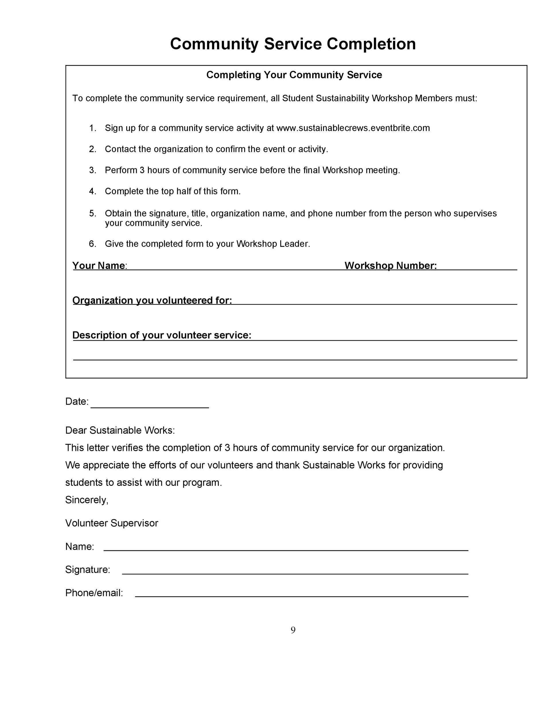Community Service Template Download Community Service Log