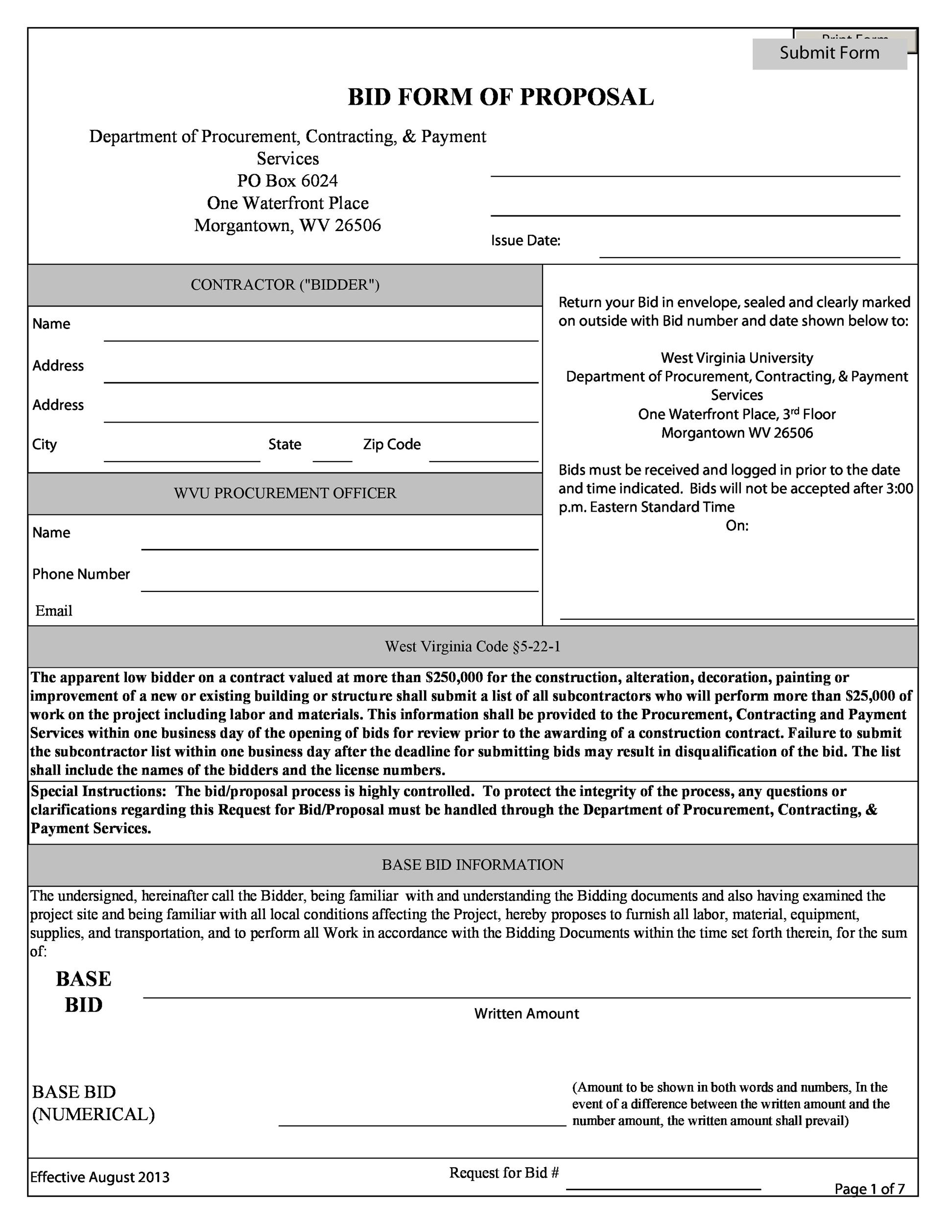 Construction Proposal Template Construction Bid Forms - Construction bid proposal template word