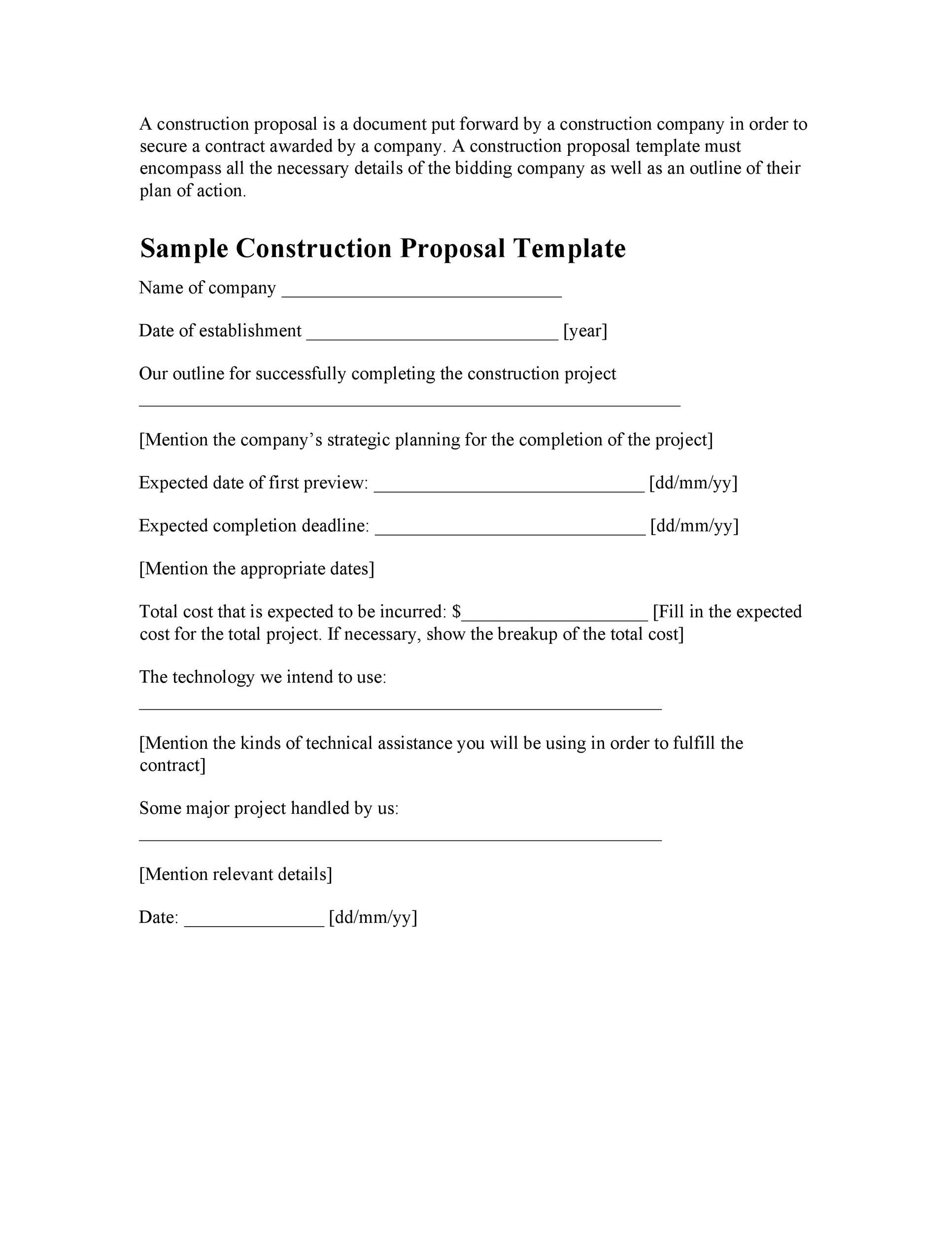 Printable Construction Proposal Template 04  Construction Proposal Template Word
