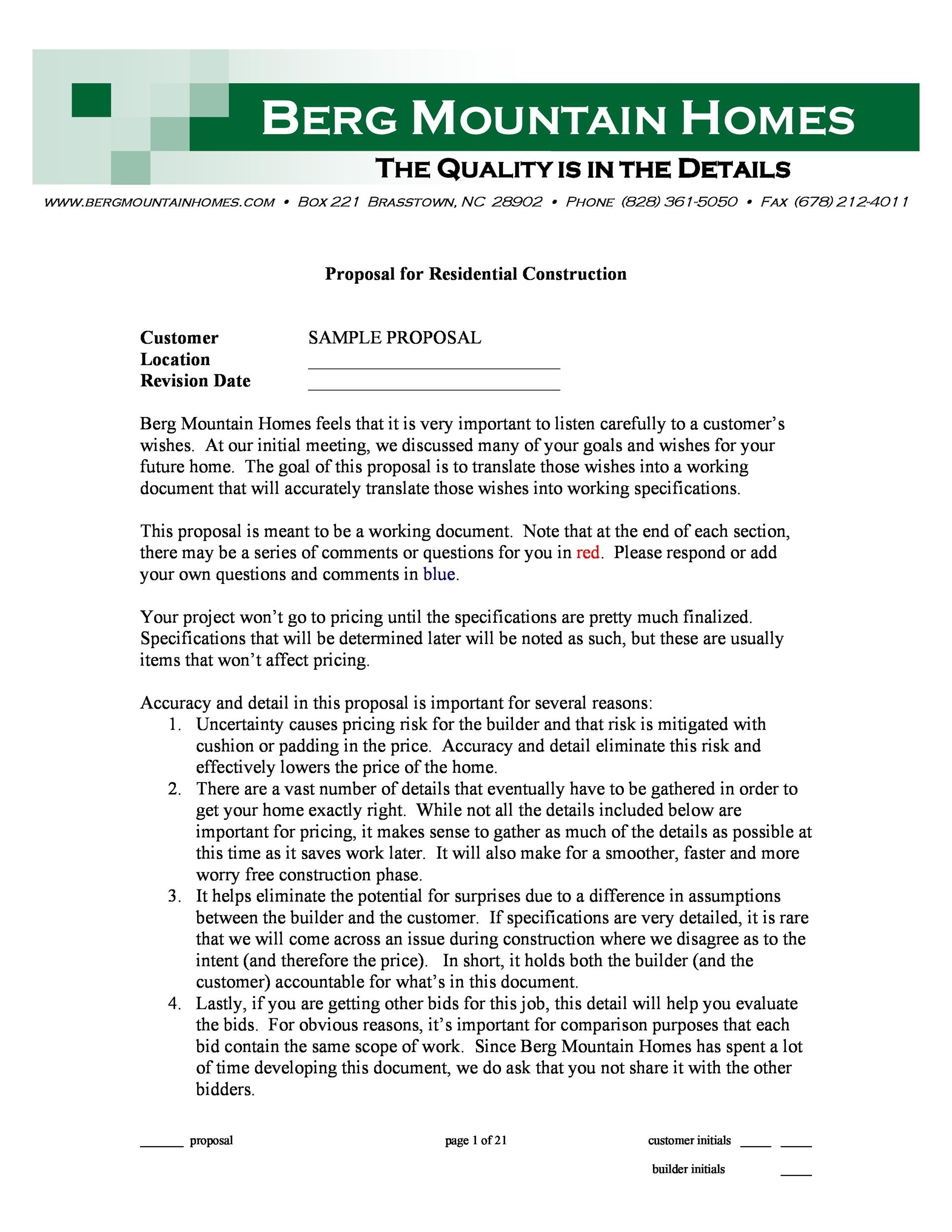 Construction proposal template 05 template lab for New house construction contract