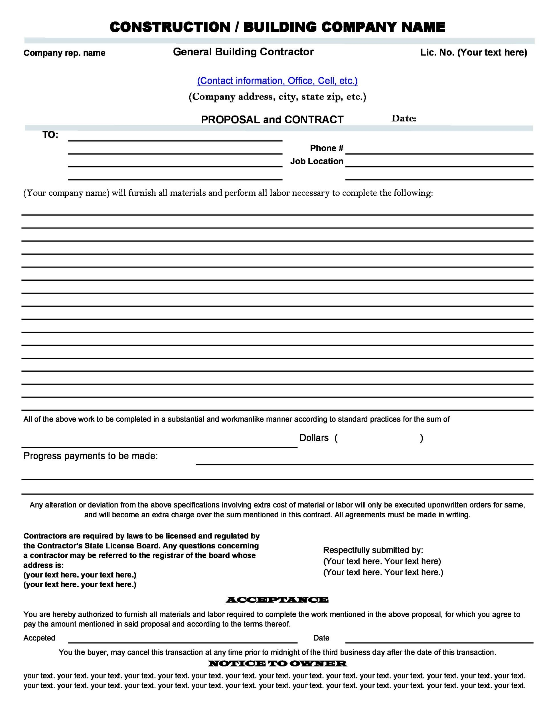 Construction Proposal Template  Construction Bid Forms