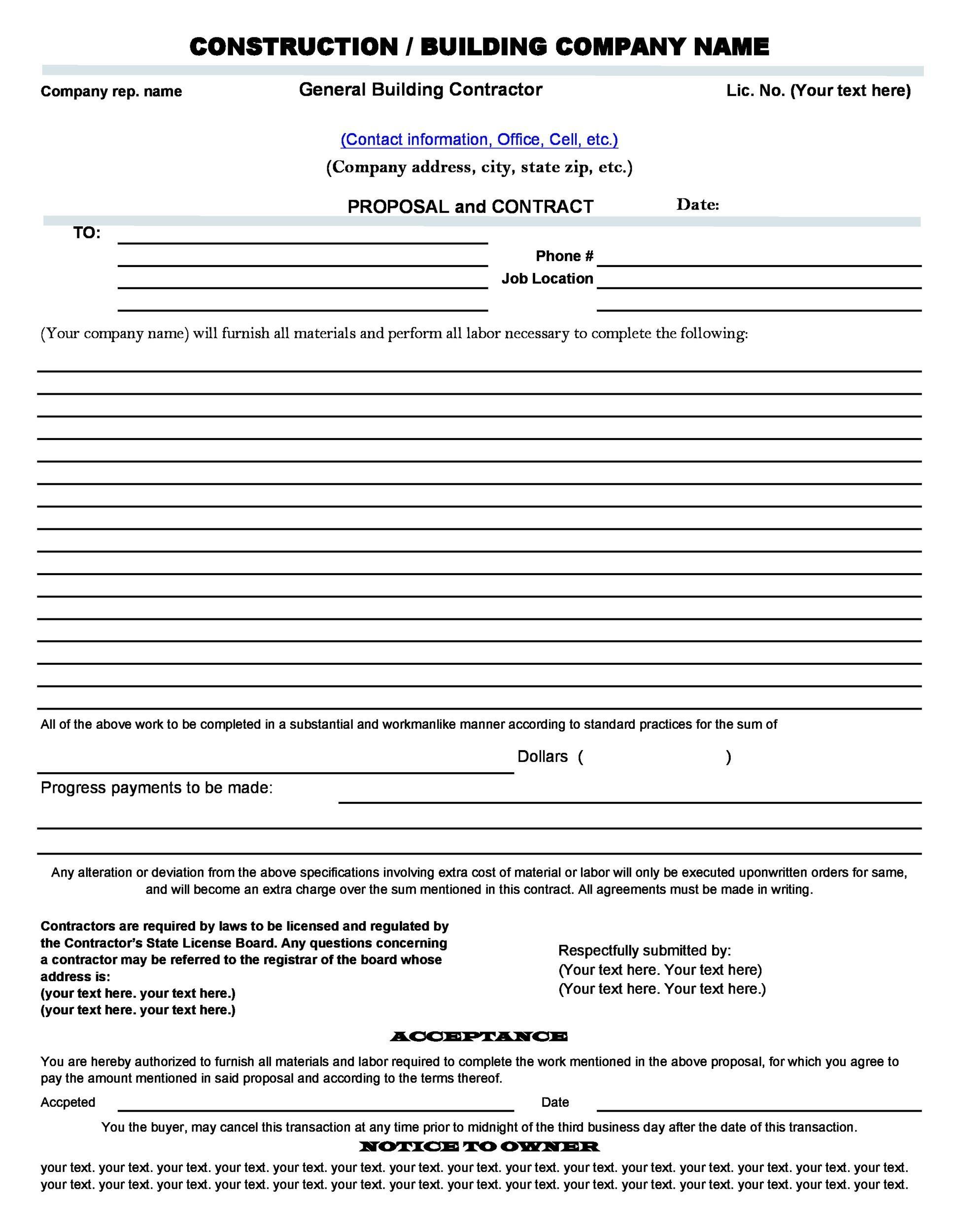 31 construction proposal template  u0026 construction bid forms