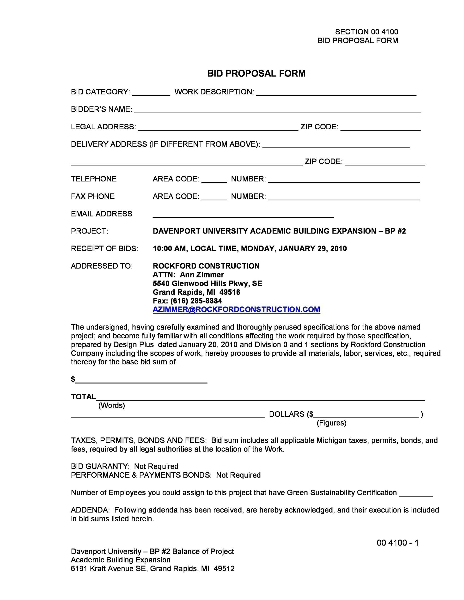 Printable Construction Proposal Template 13  Construction Proposal Form