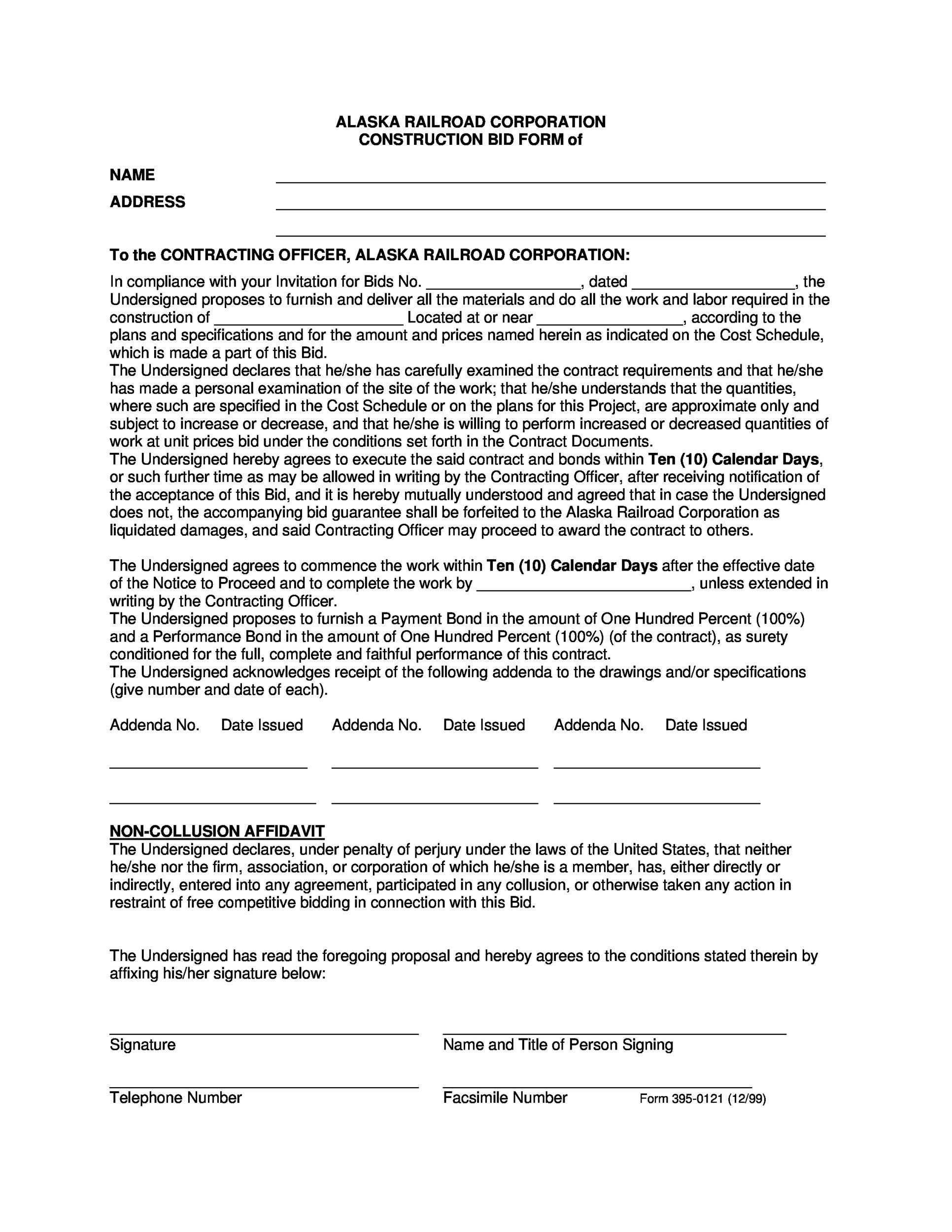 31 Construction Proposal Template & Construction Bid Forms