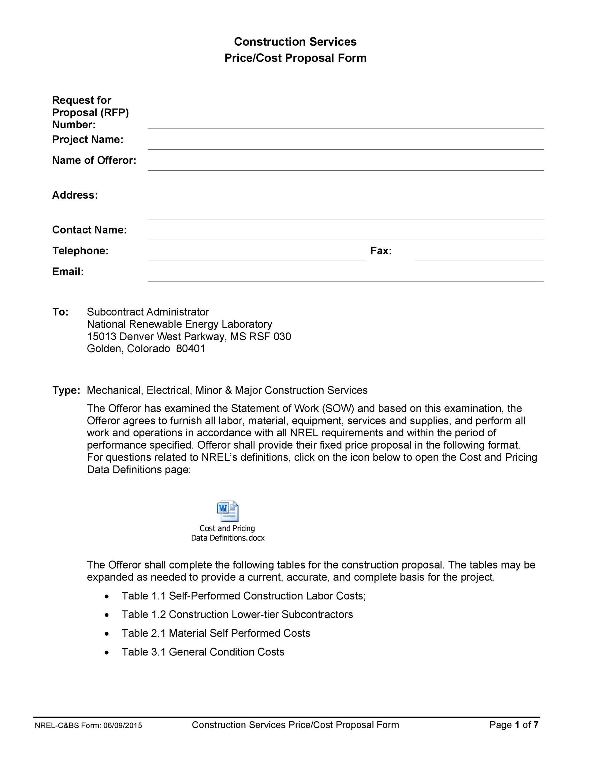 31 Construction Proposal Template Construction Bid Forms