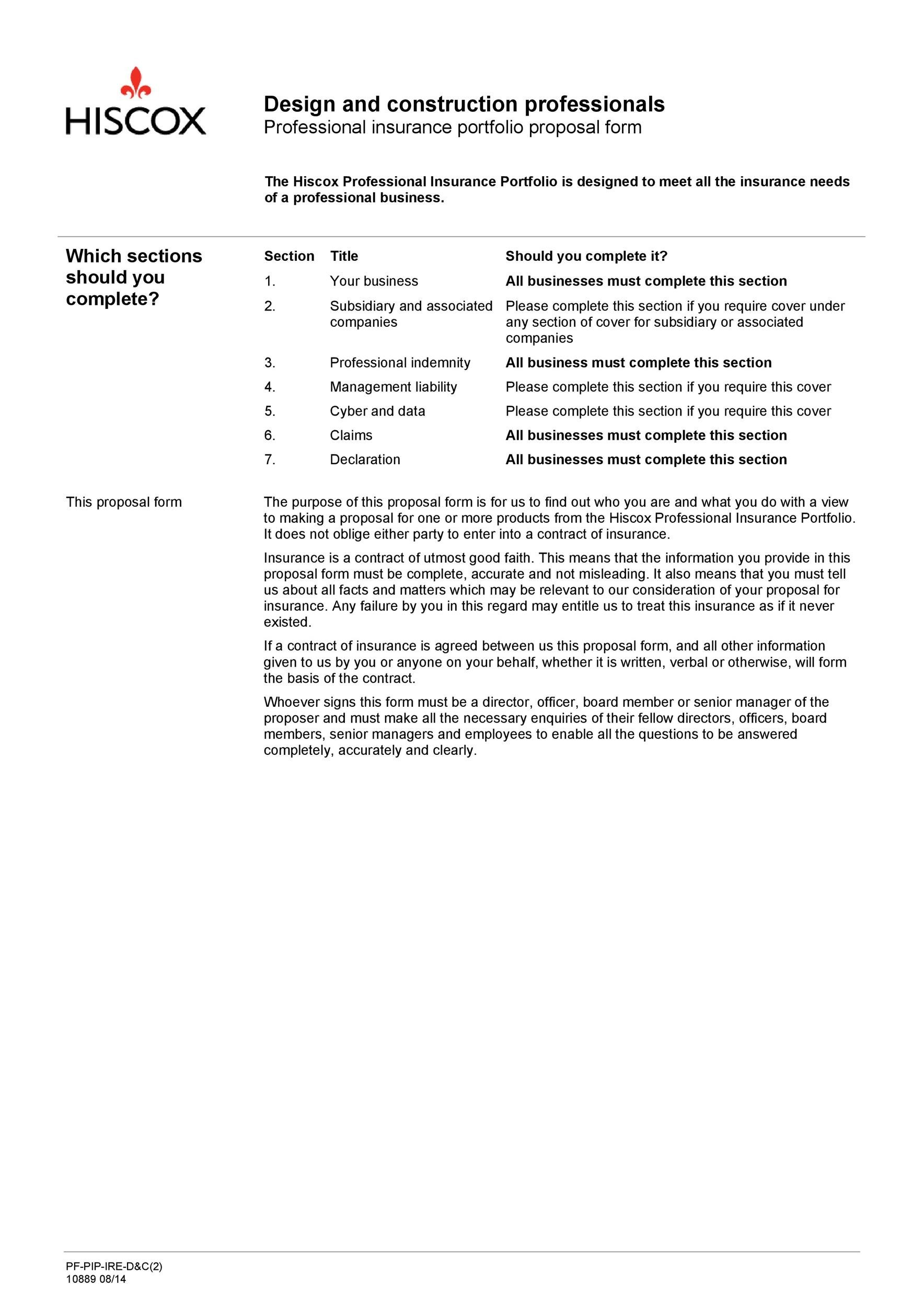 Printable Construction Proposal Template 22  Construction Proposal Form