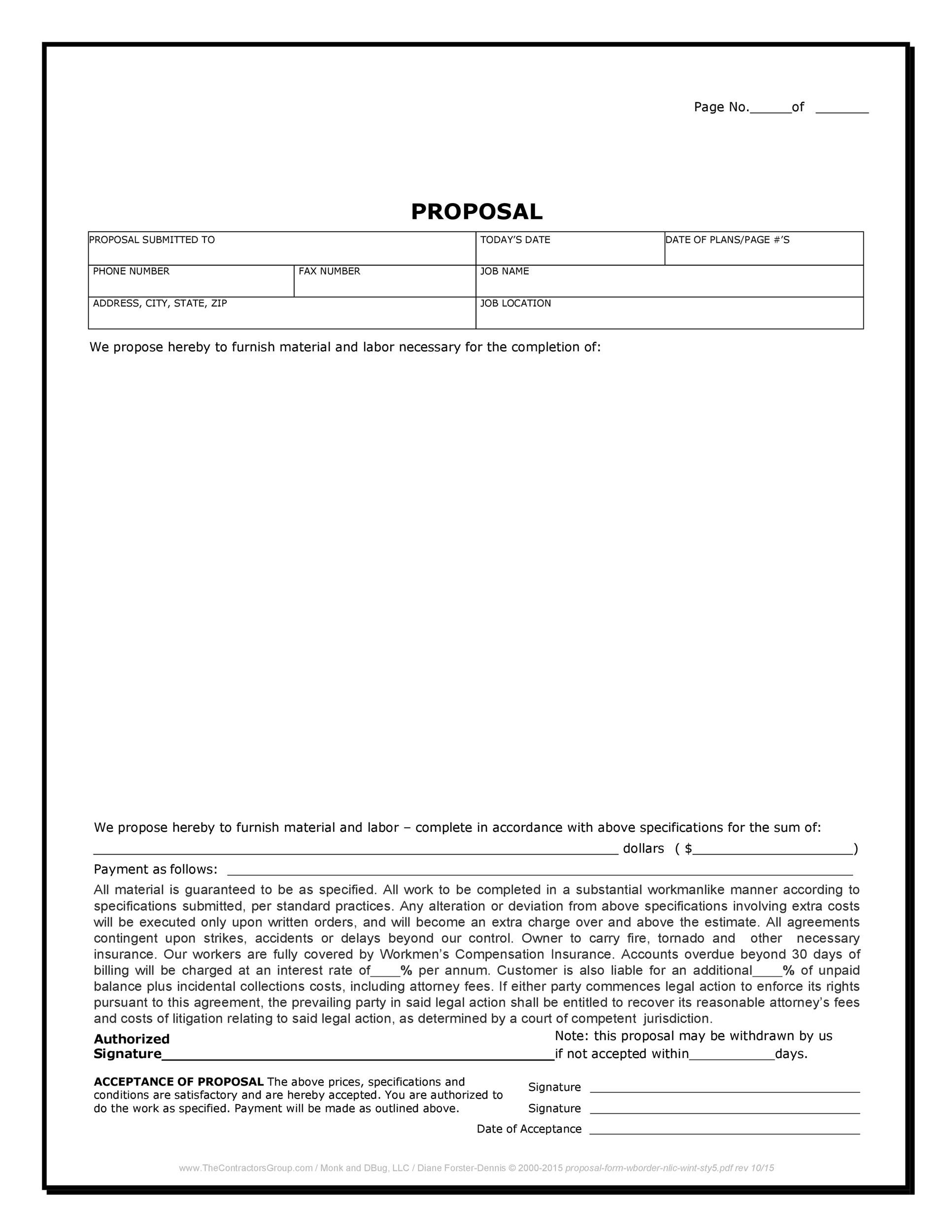 Construction Proposal Examples  Construction Proposal Template