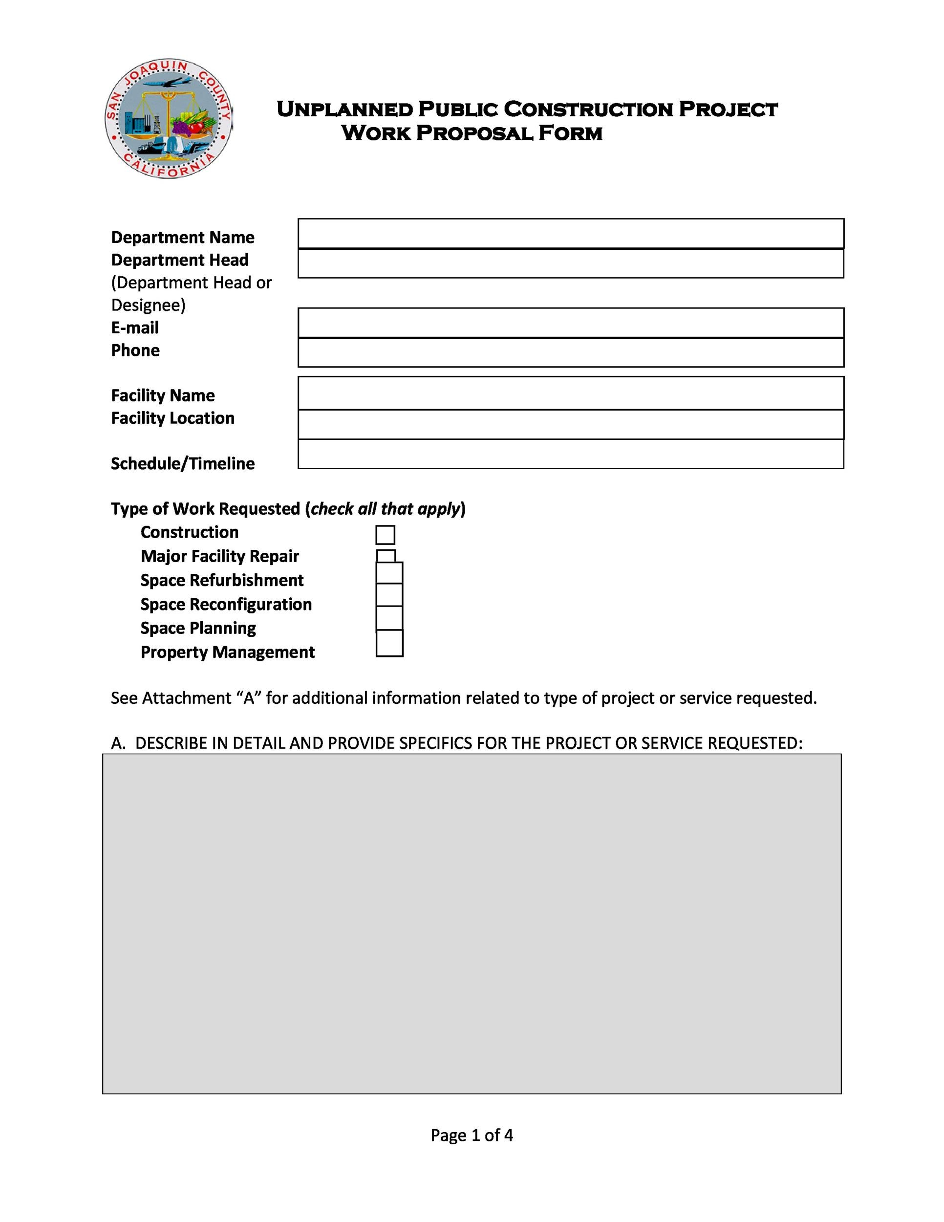 31 Construction Proposal Template Construction Bid Forms – Work Proposal Template