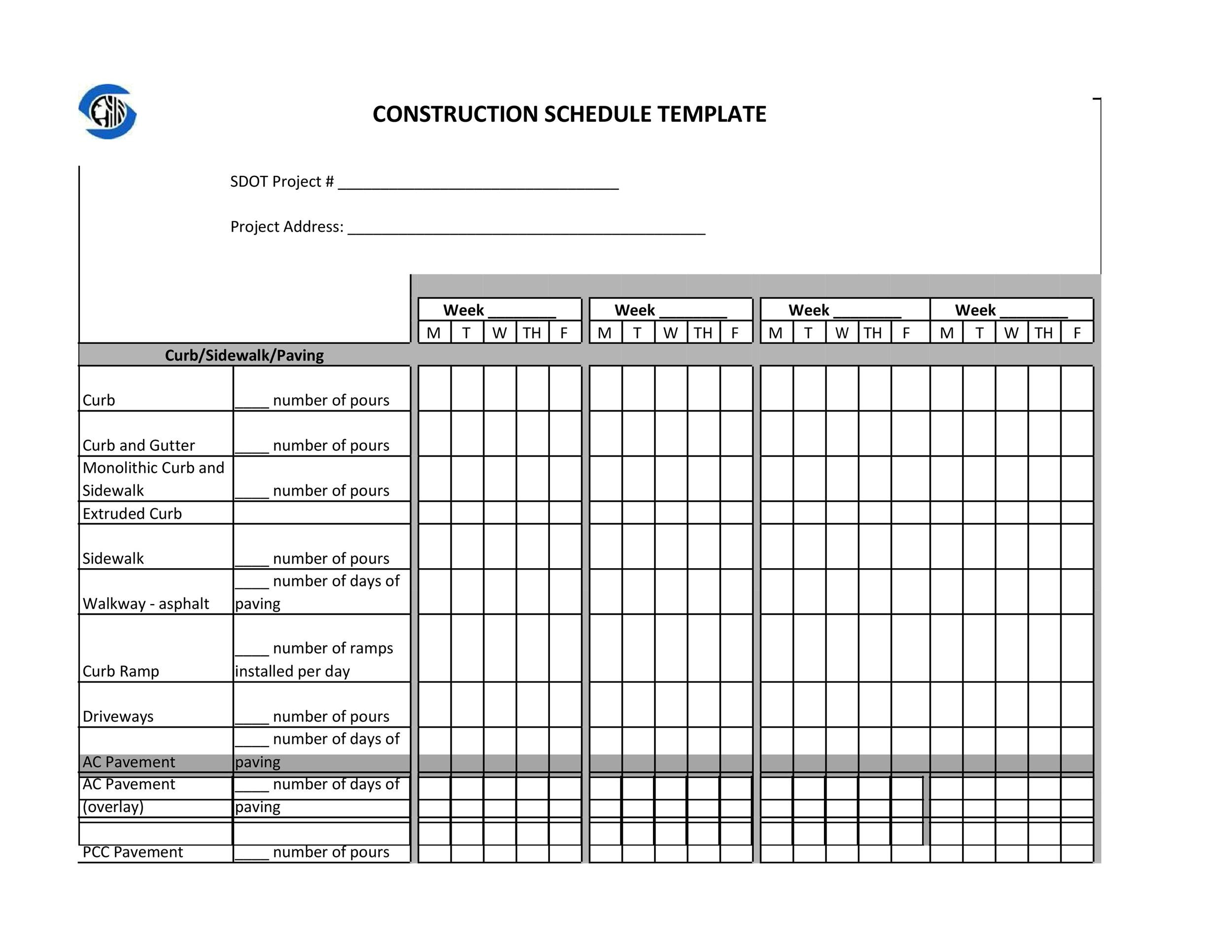 Printable Construction Schedule Template 07  Construction Schedules Templates