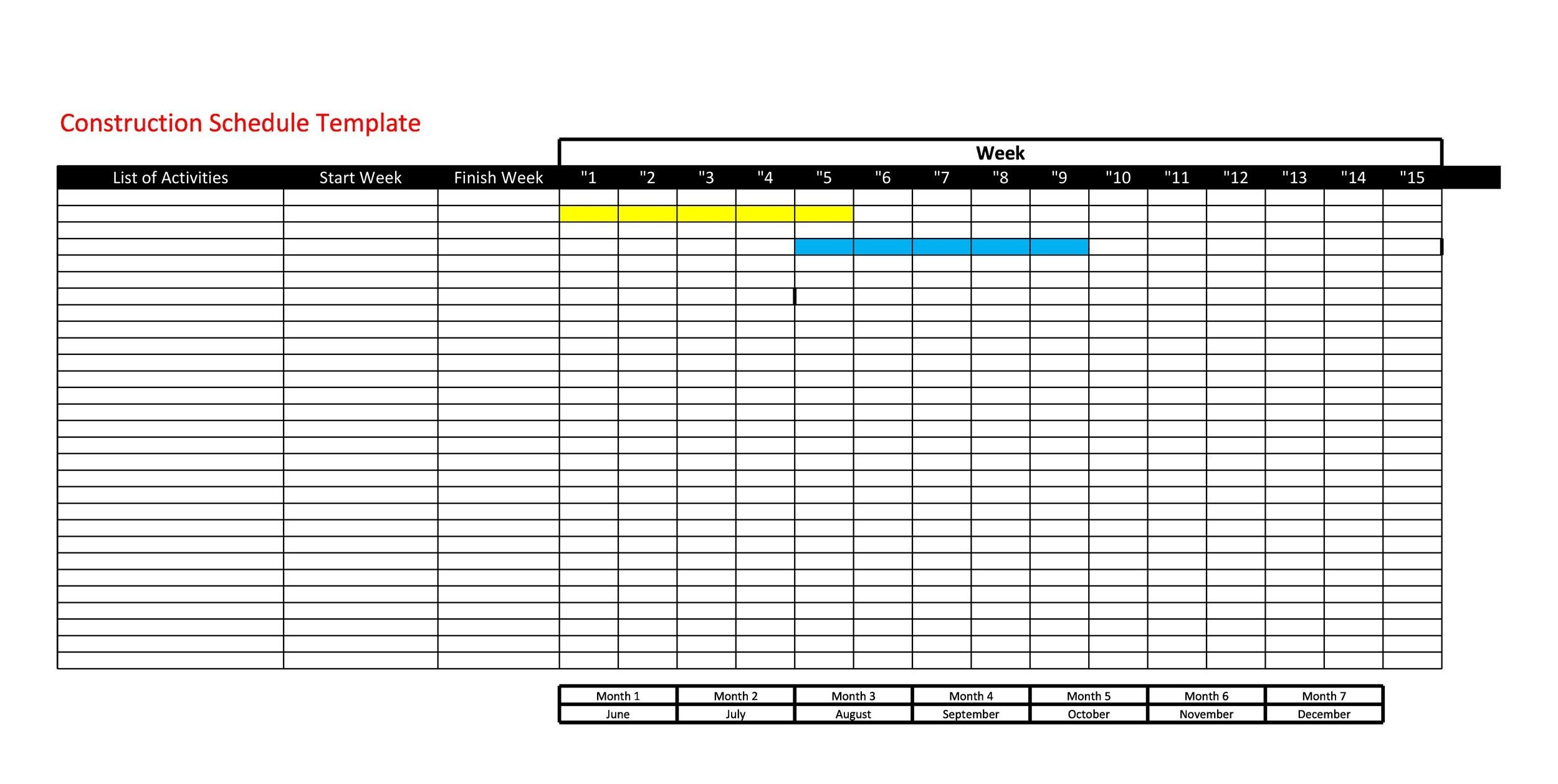 Free Construction Schedule Template 12