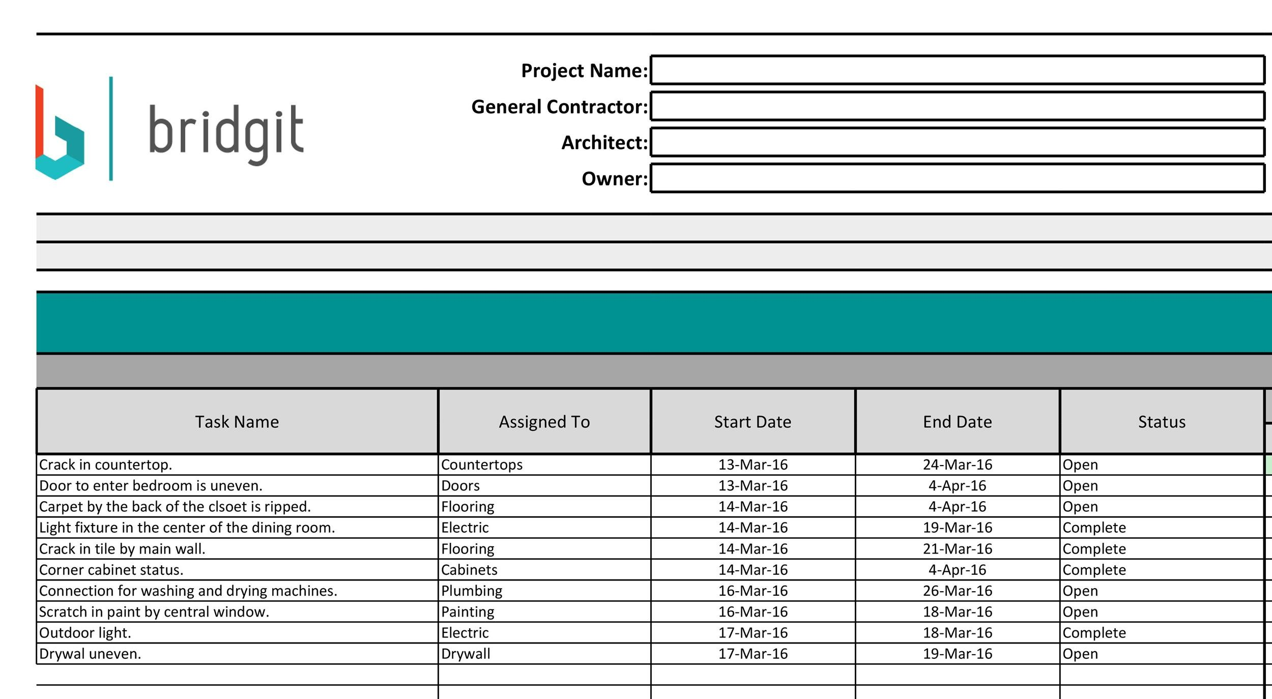 Free construction schedule template 15
