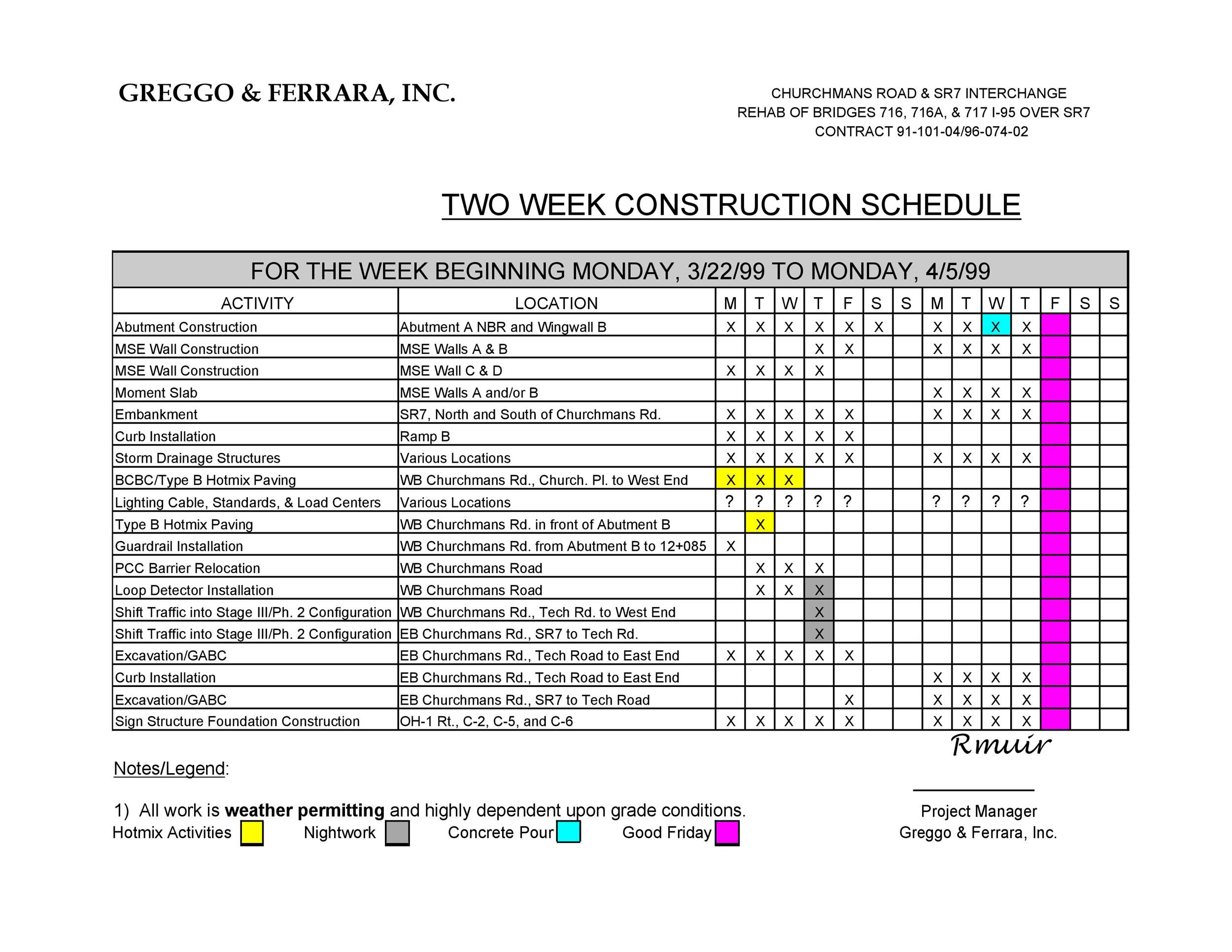 21 construction schedule templates in word excel template lab