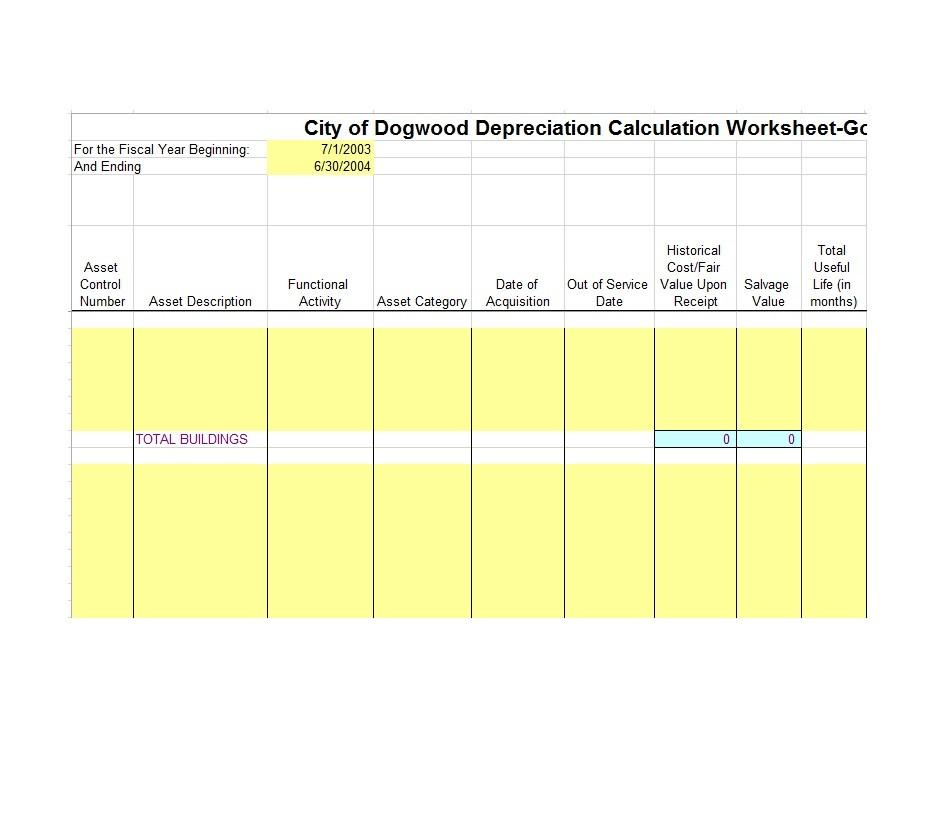 Free depreciation schedule template 04