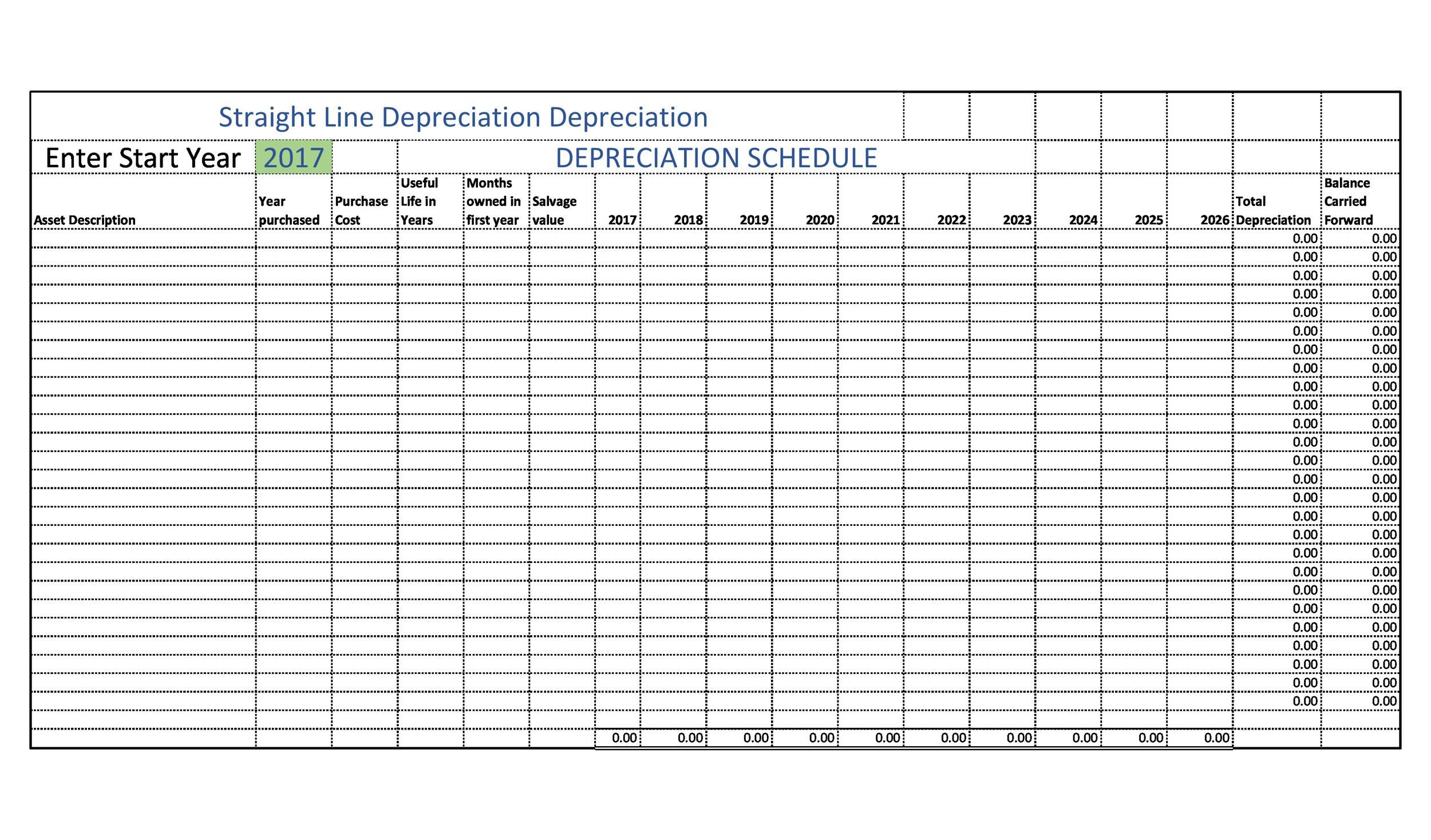 Free depreciation schedule template 07
