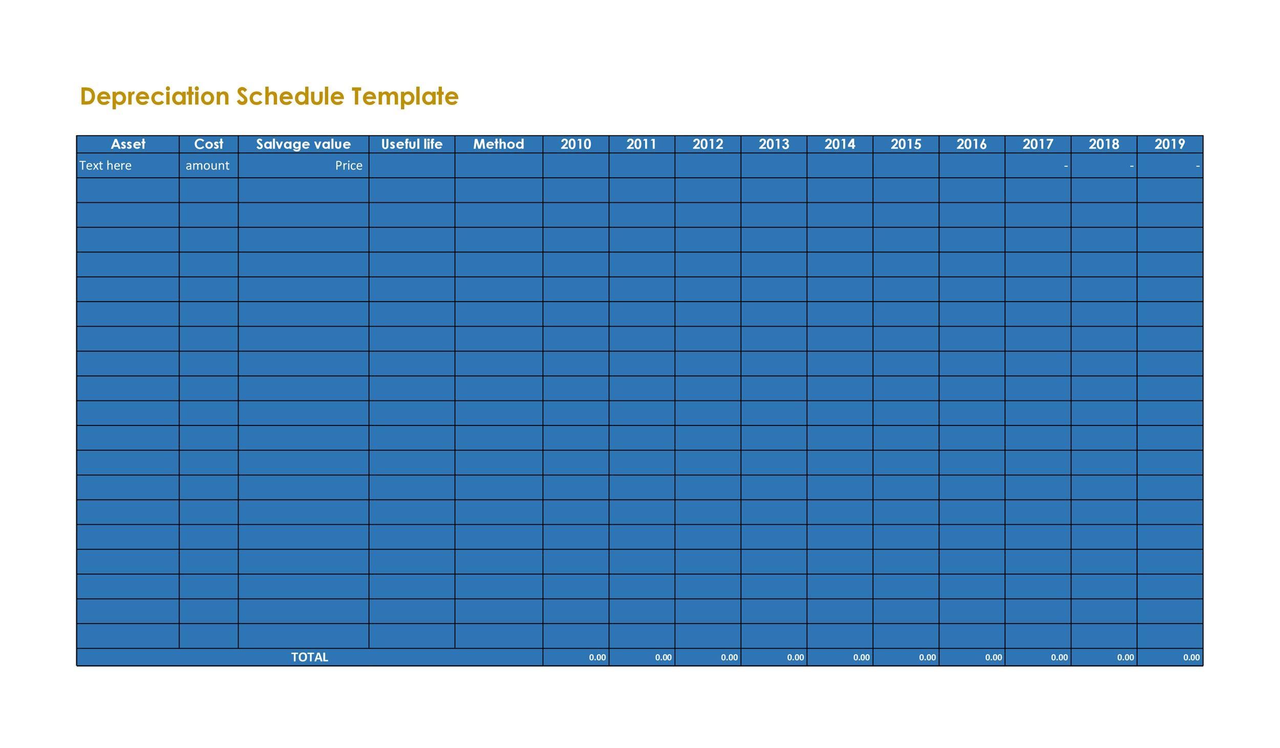 Free depreciation schedule template 18