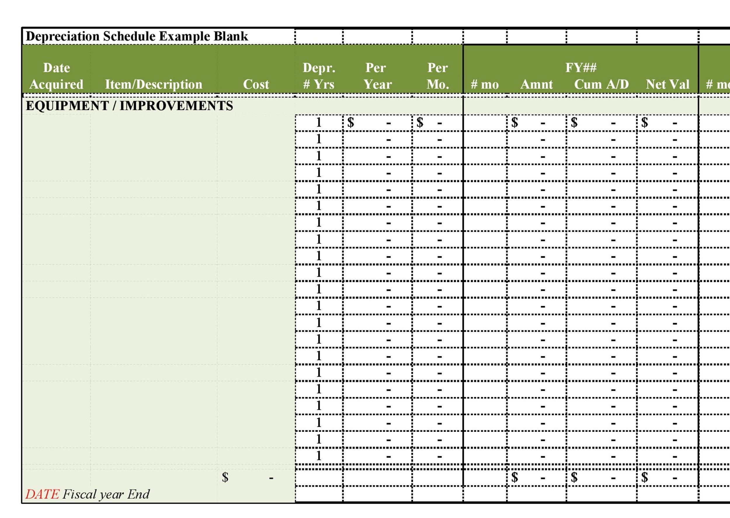 Free depreciation schedule template 21