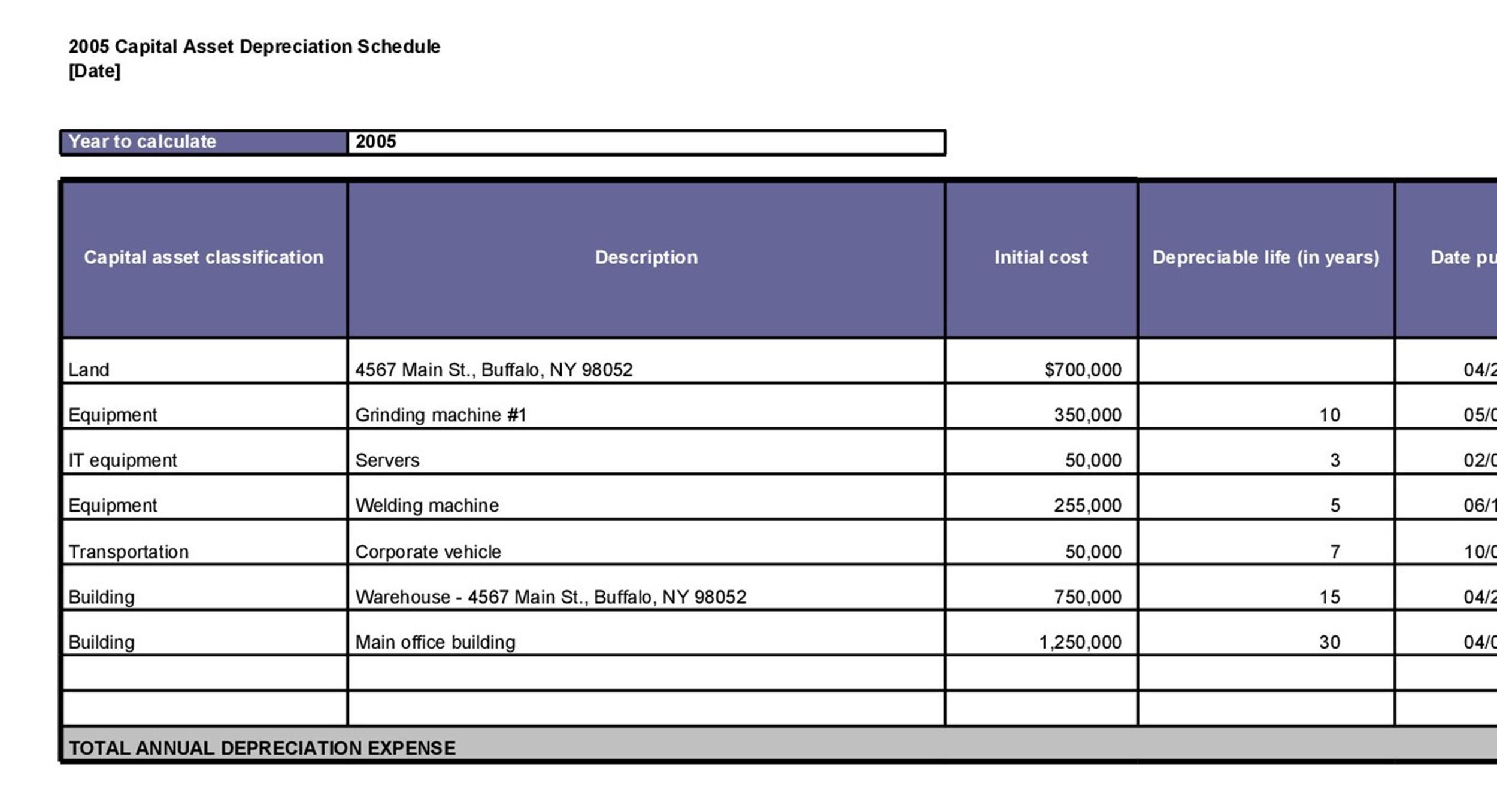 Free depreciation schedule template 24
