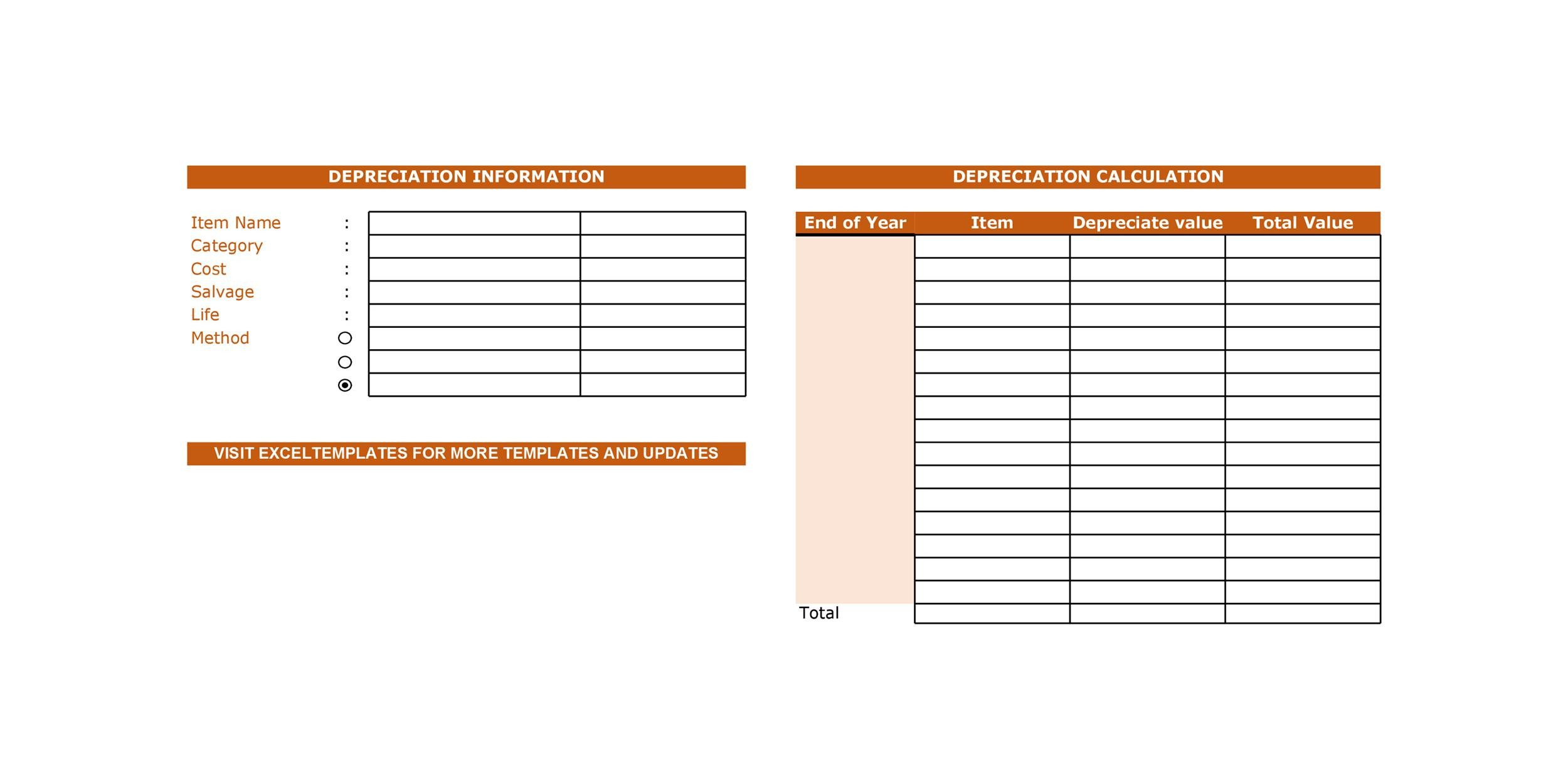 Free depreciation schedule template 25