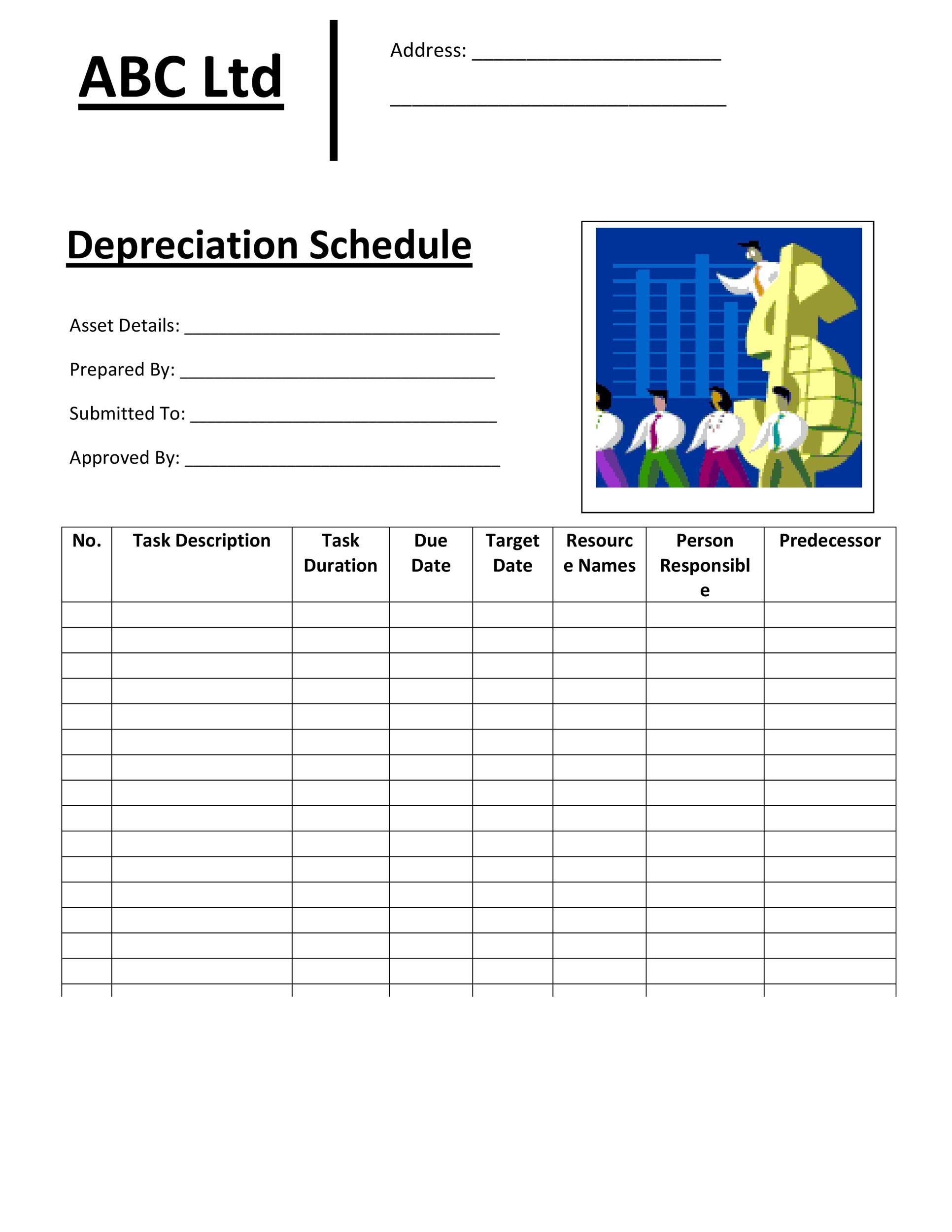 Free depreciation schedule template 31