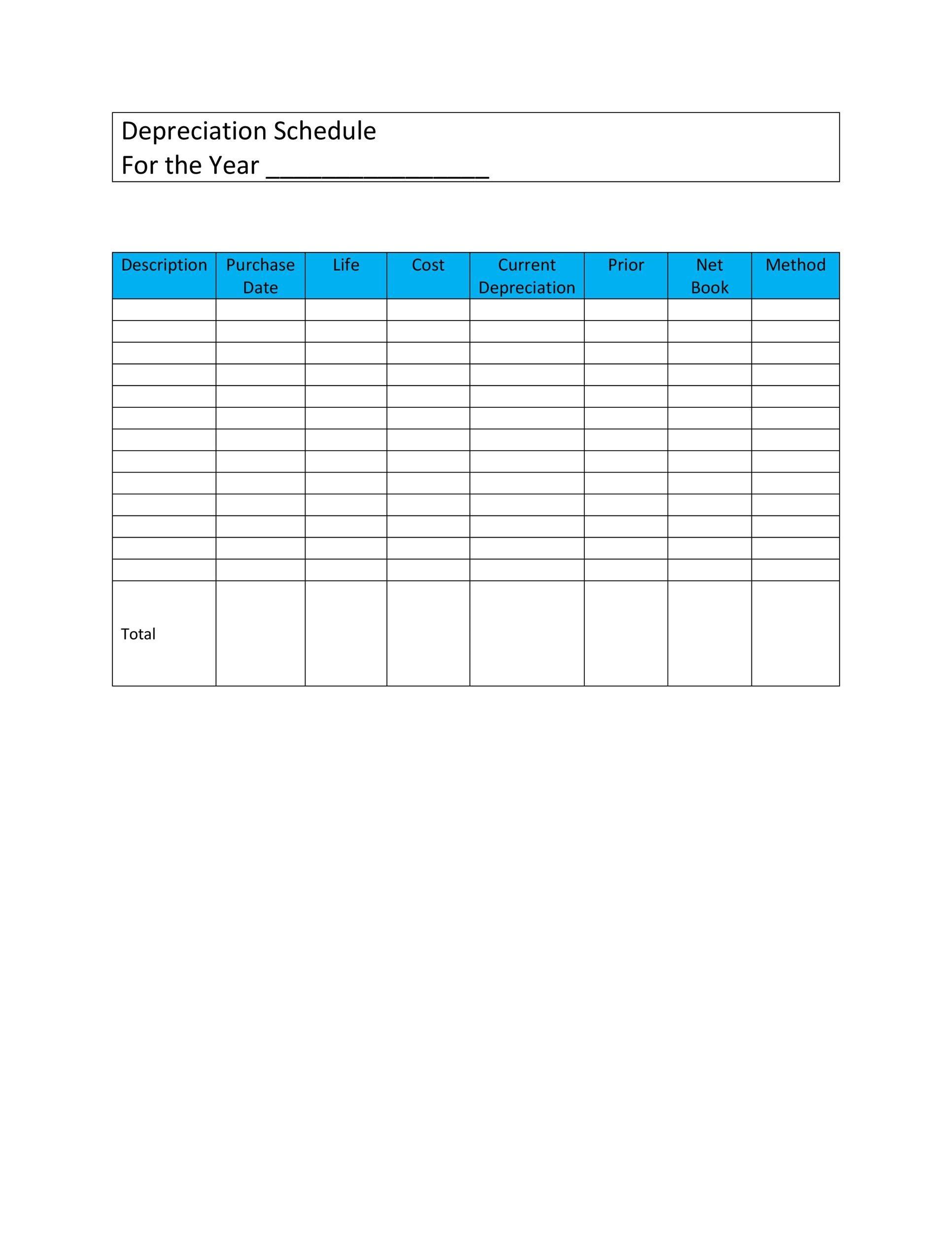 Free depreciation schedule template 32