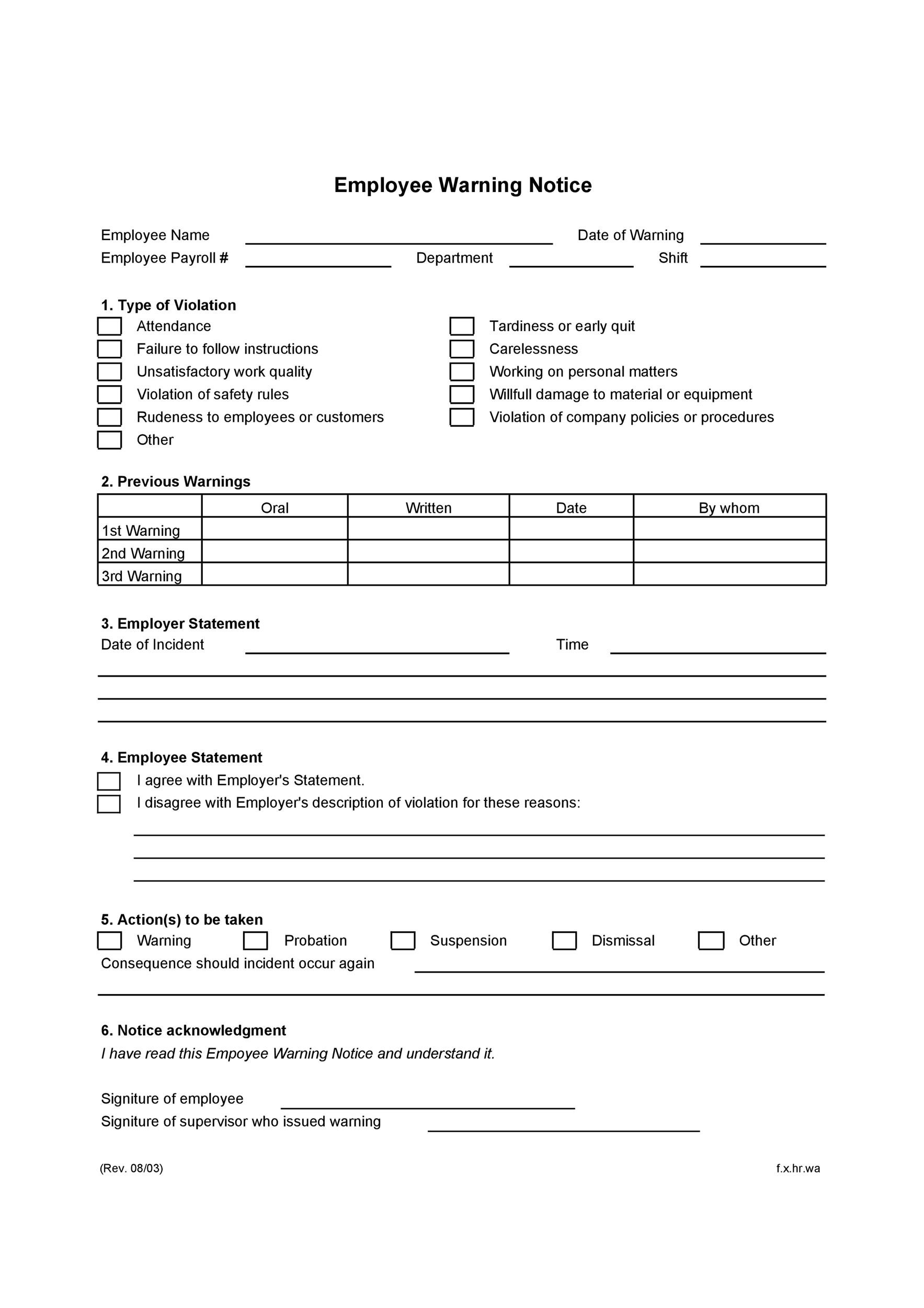 Warning Notice Template Warning Notice Template Sample Form