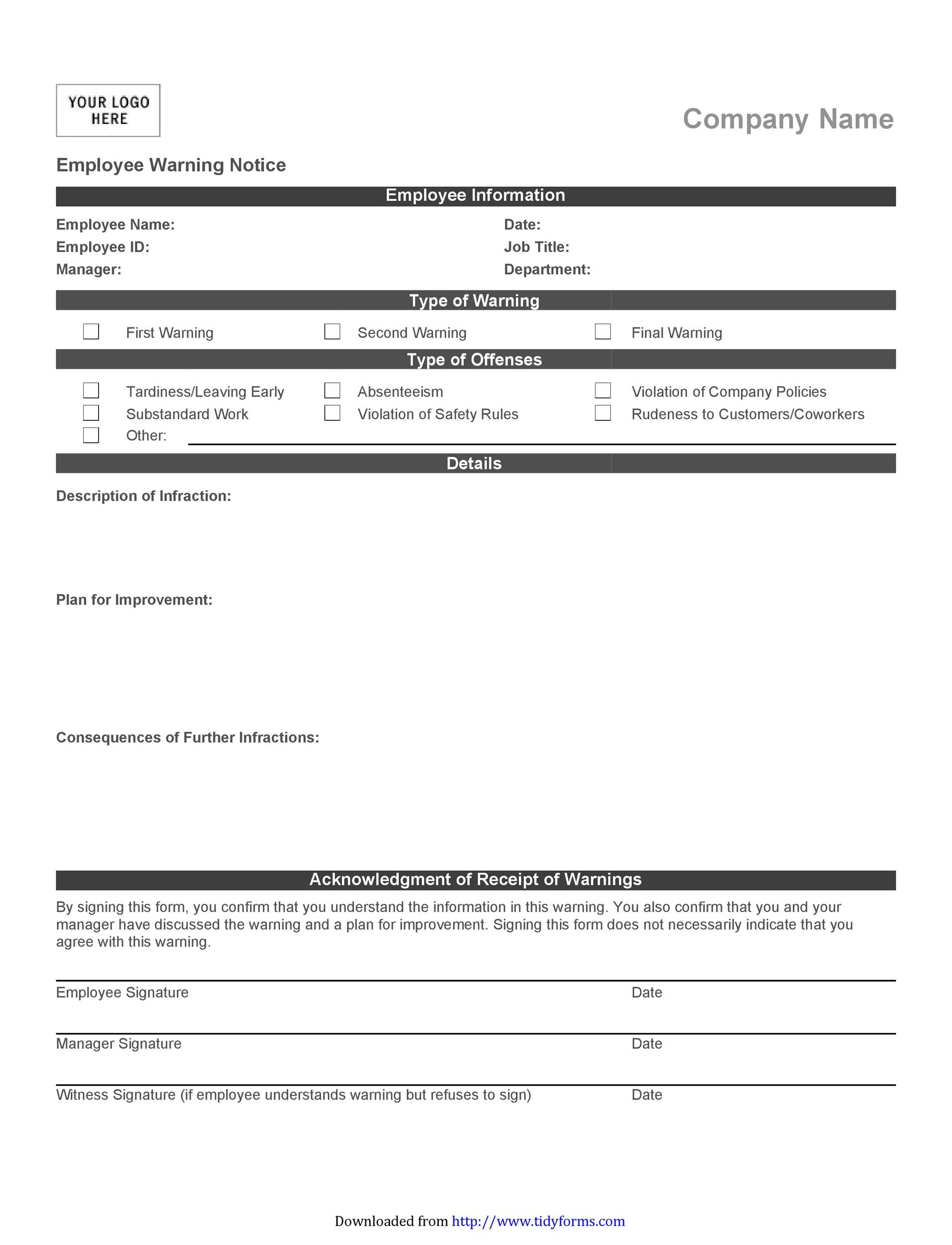Employee Warning Notice  Download  Free Templates  Forms