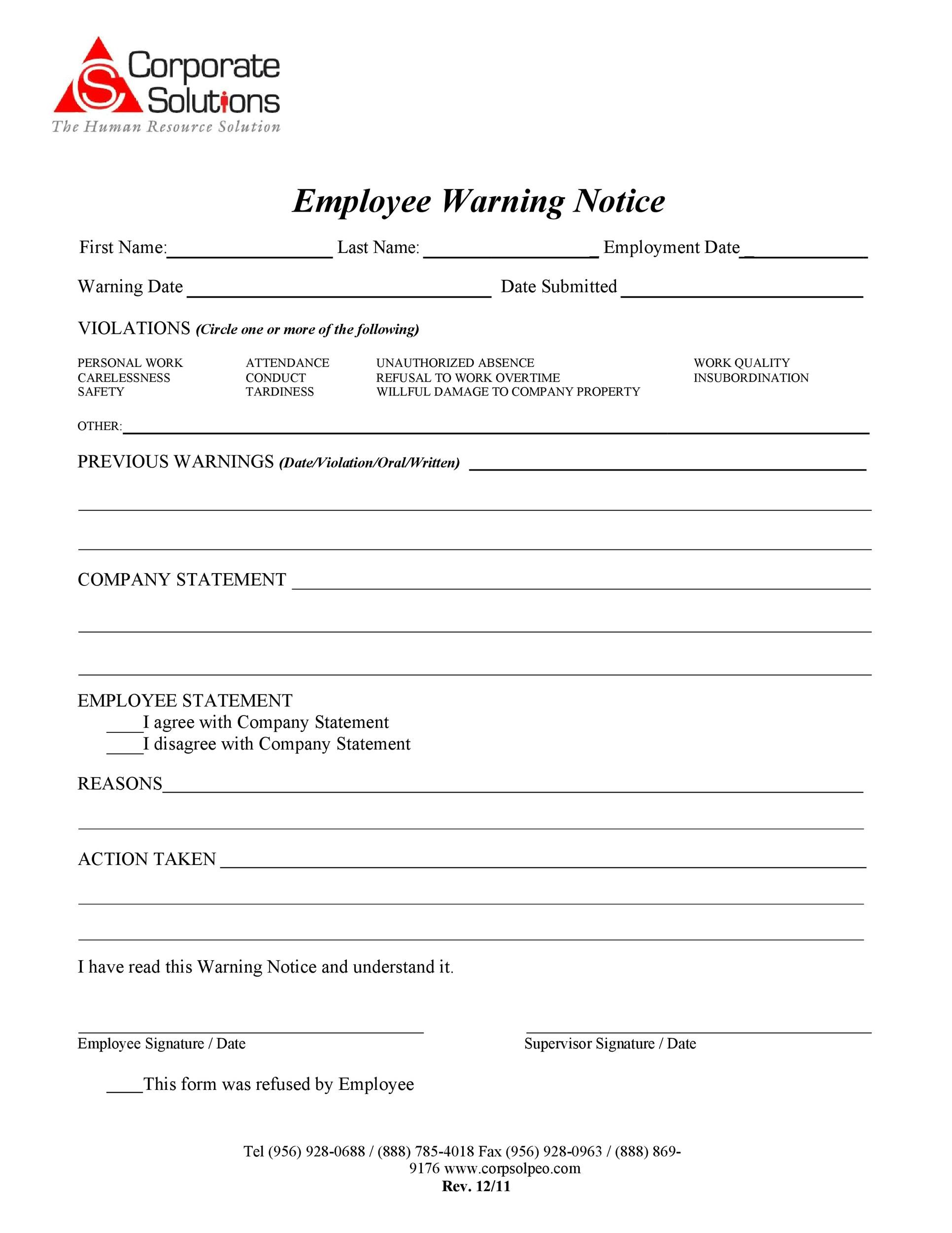 Free employee warning notice 16