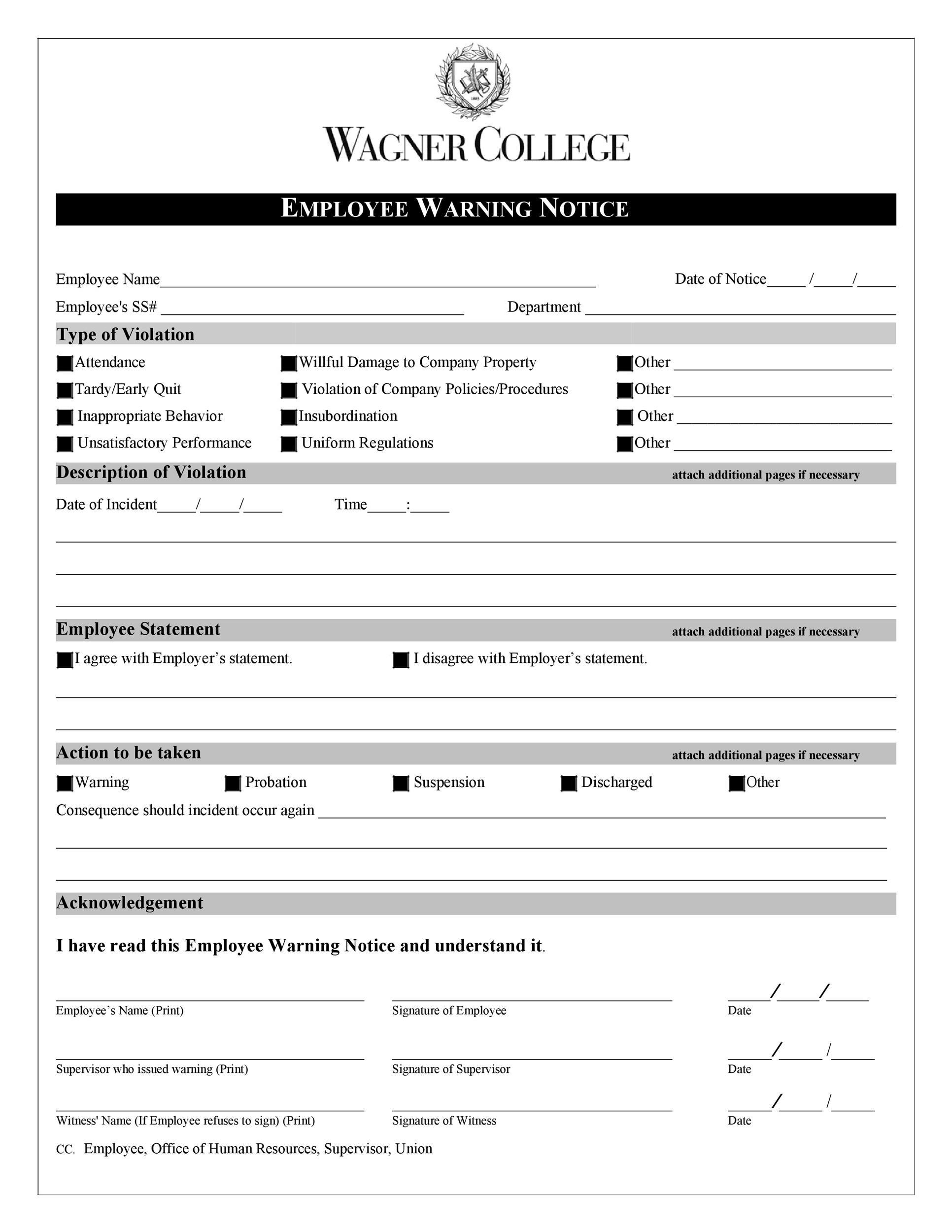 Free employee warning notice 19