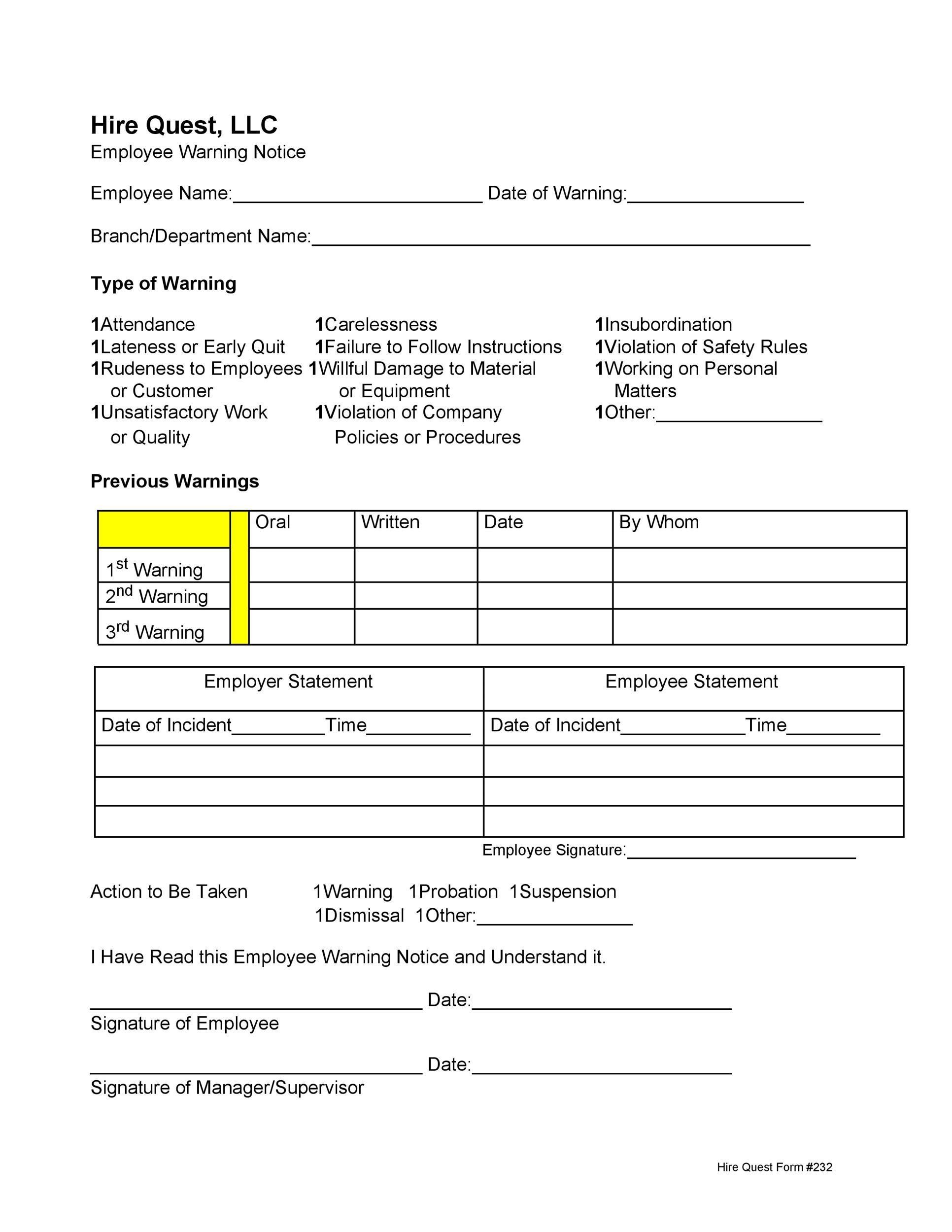 Free employee warning notice 28