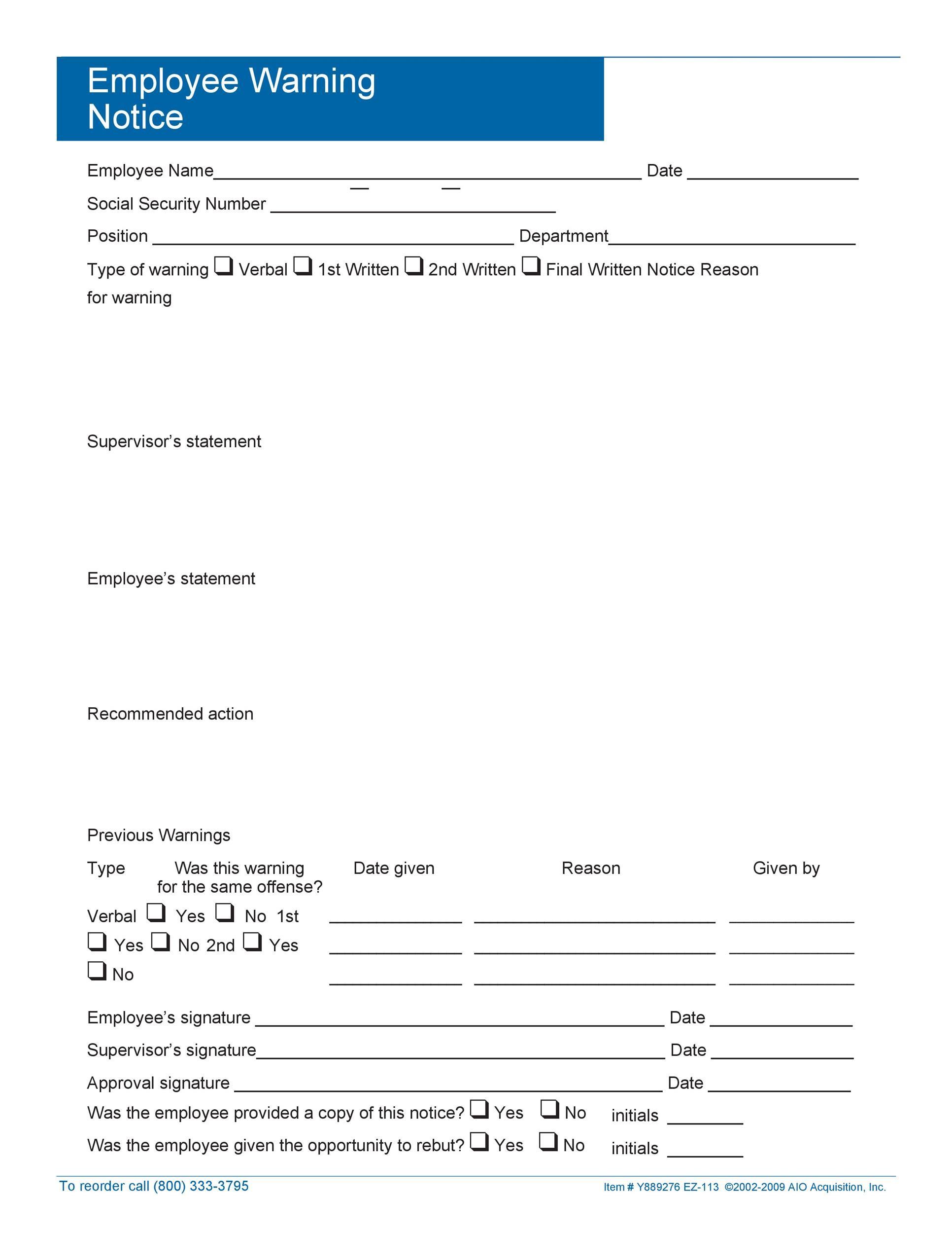 Free employee warning notice 36