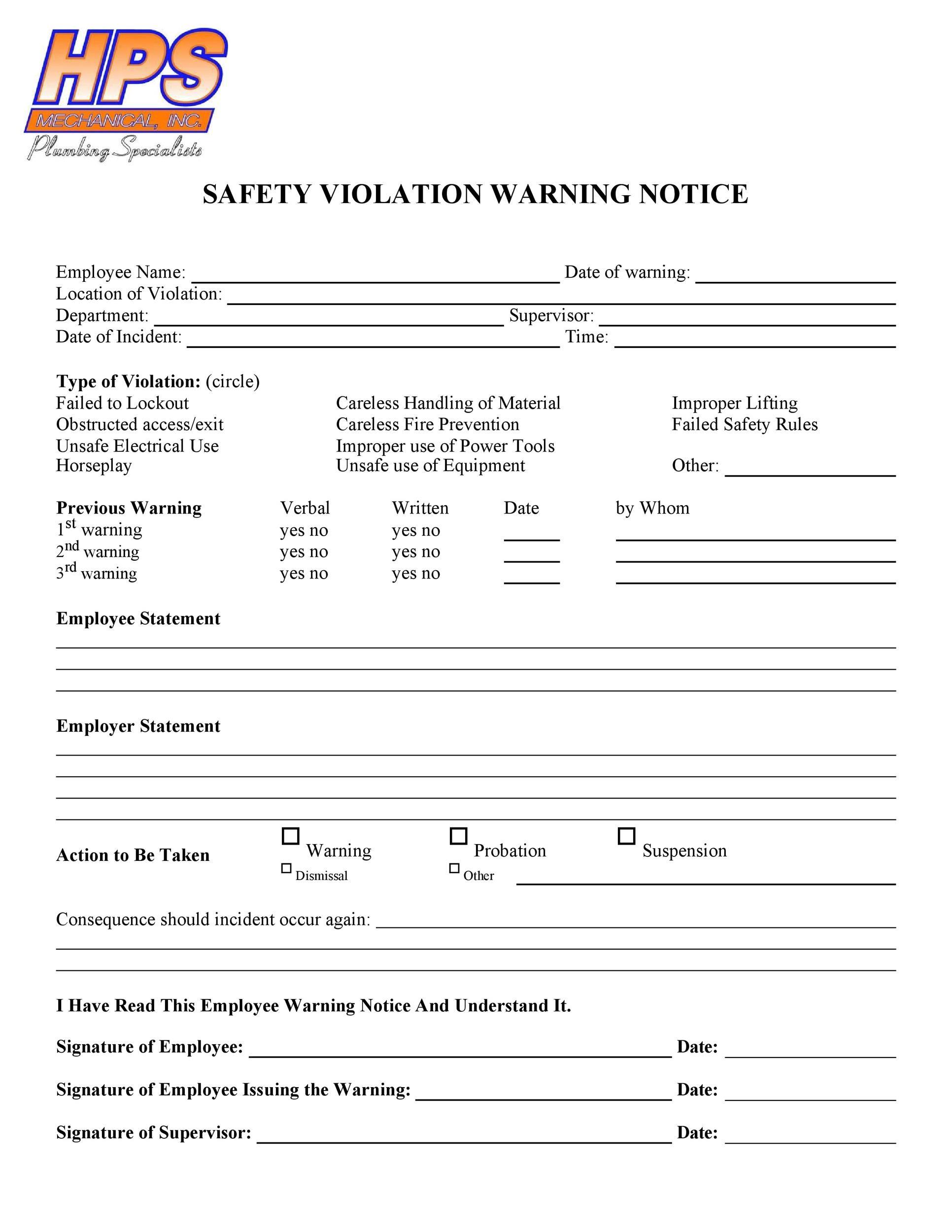 Free employee warning notice 45