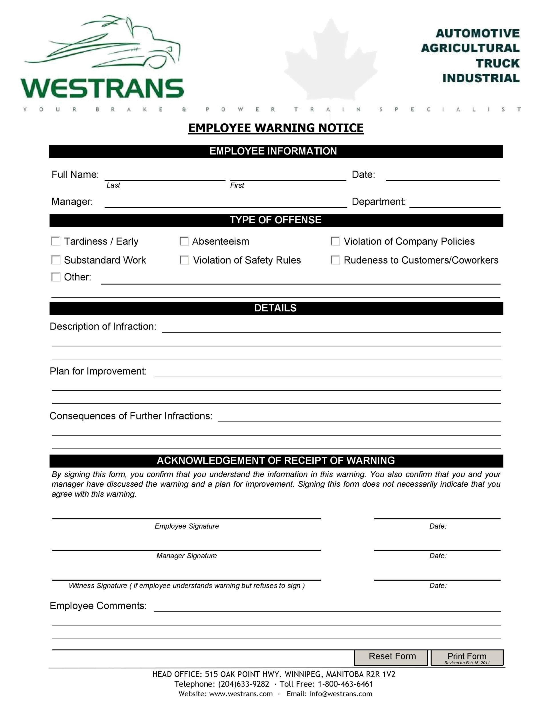 Free employee warning notice 50