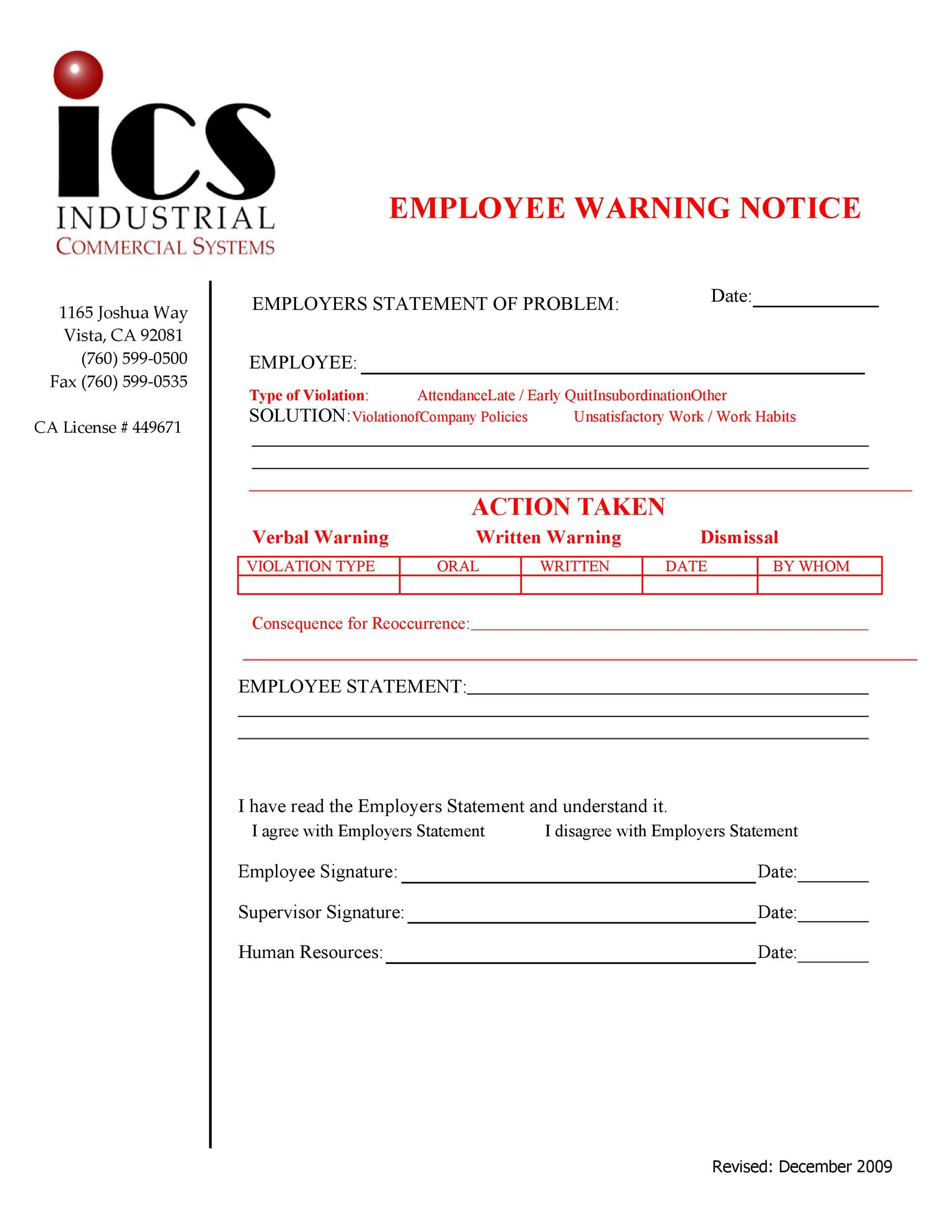 Free employee warning notice 52