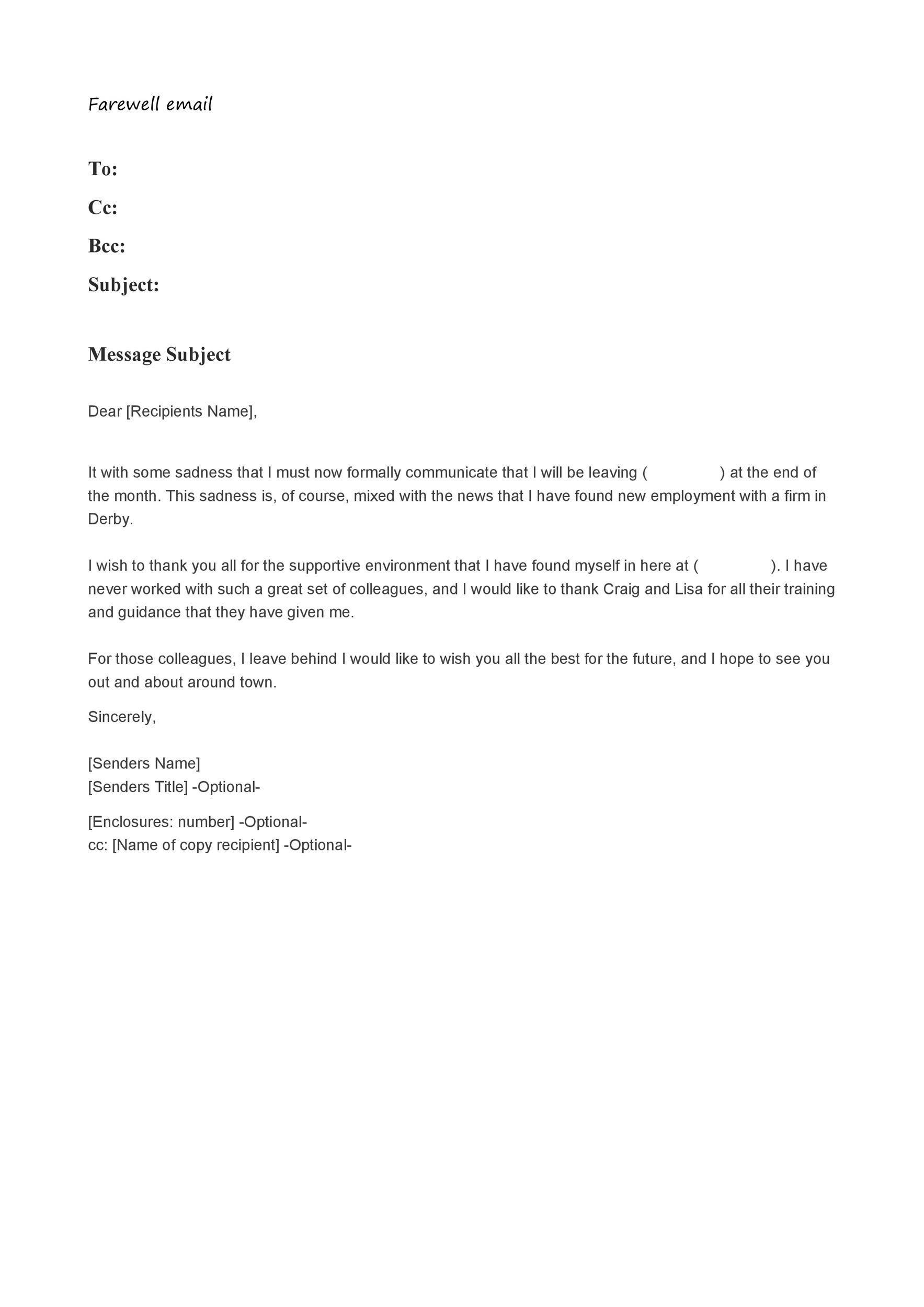 Free farewell email template 07