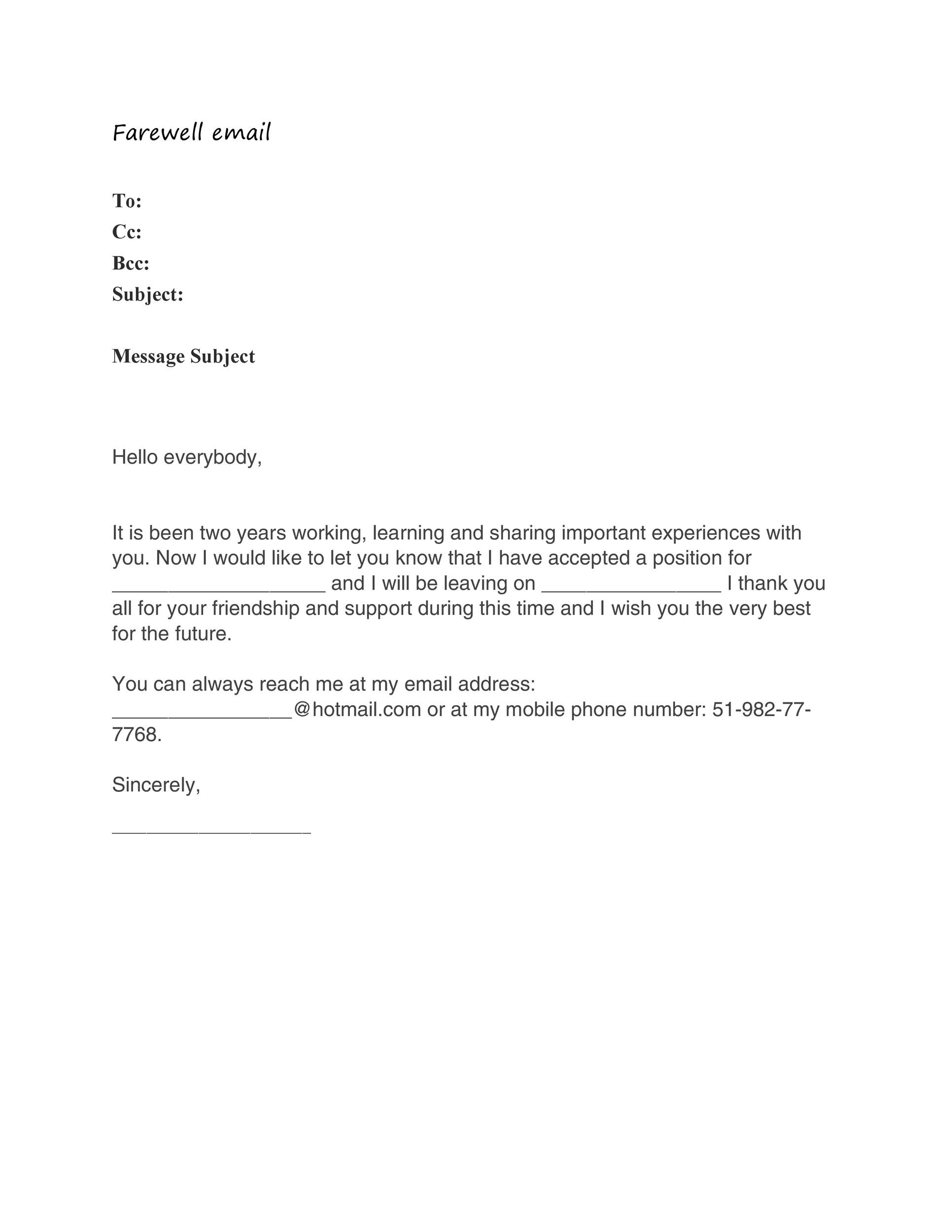 Free farewell email template 08
