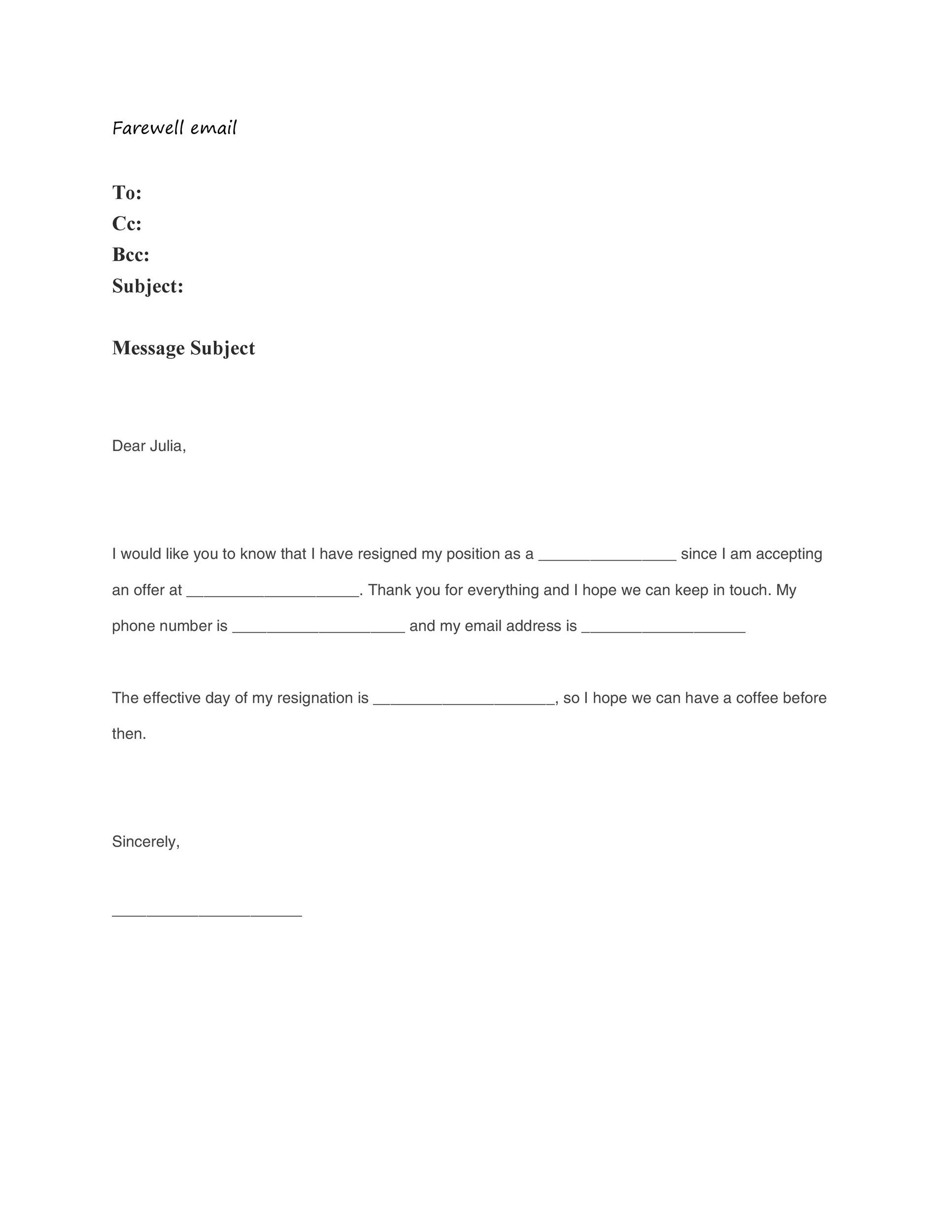 Free farewell email template 09