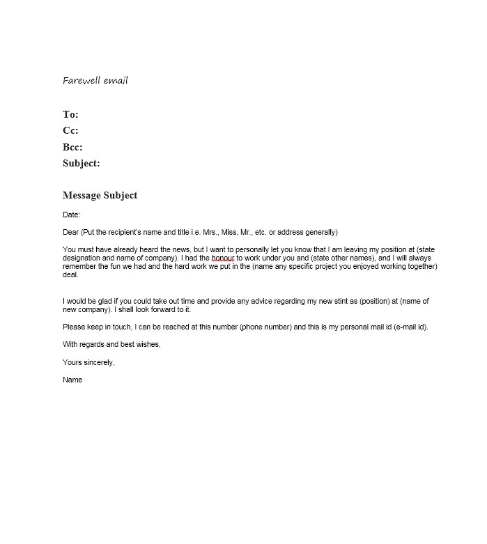 Free farewell email template 10