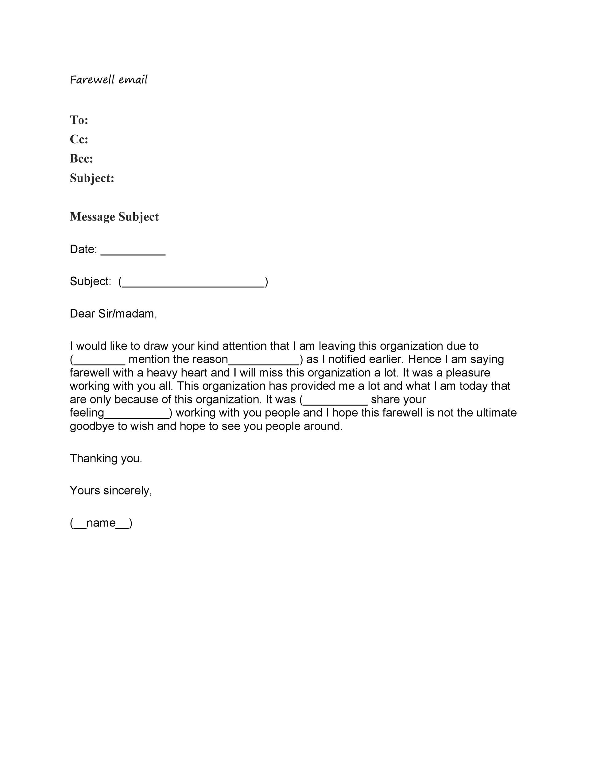 40 Farewell Email Templates To Coworkers Á… Templatelab