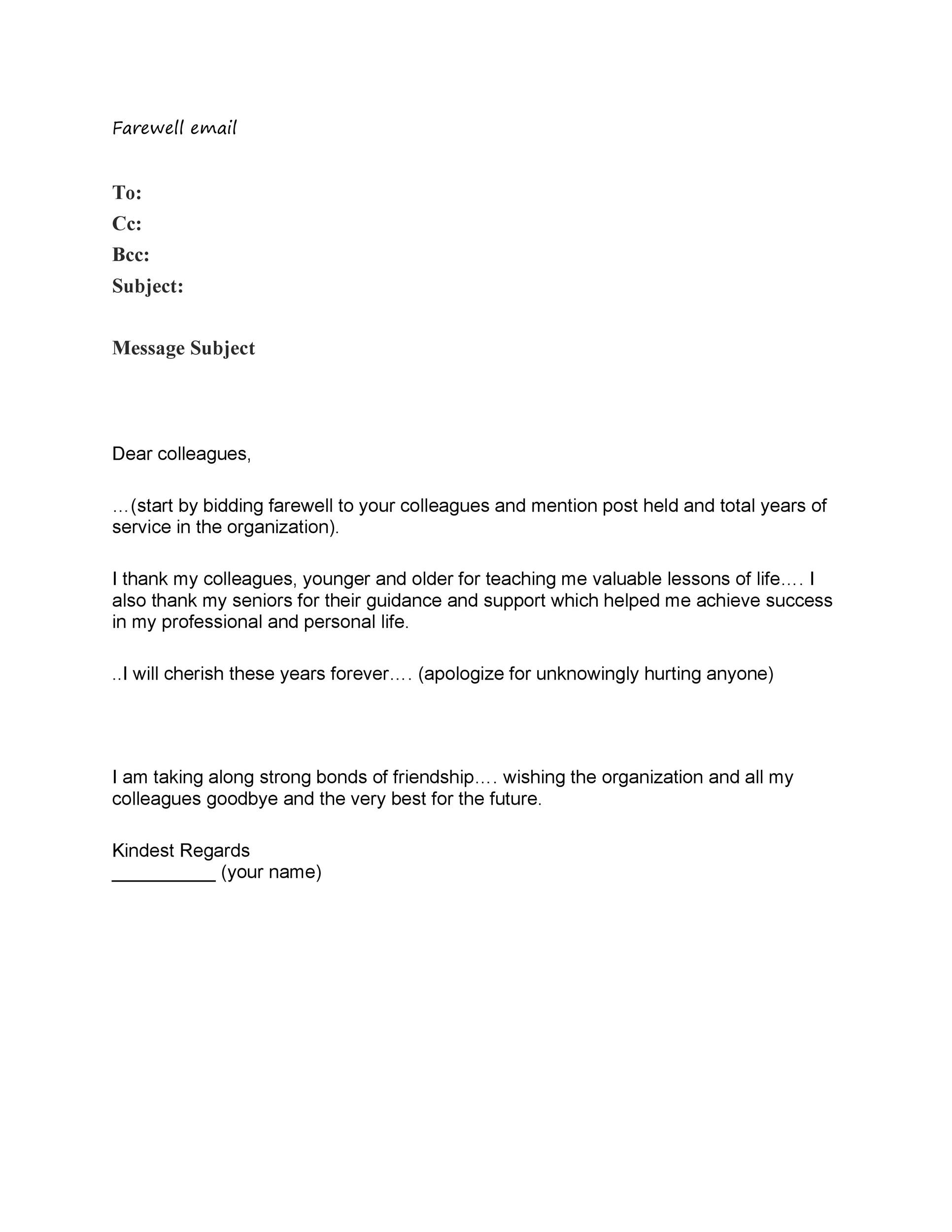 Printable Farewell Email Template 15