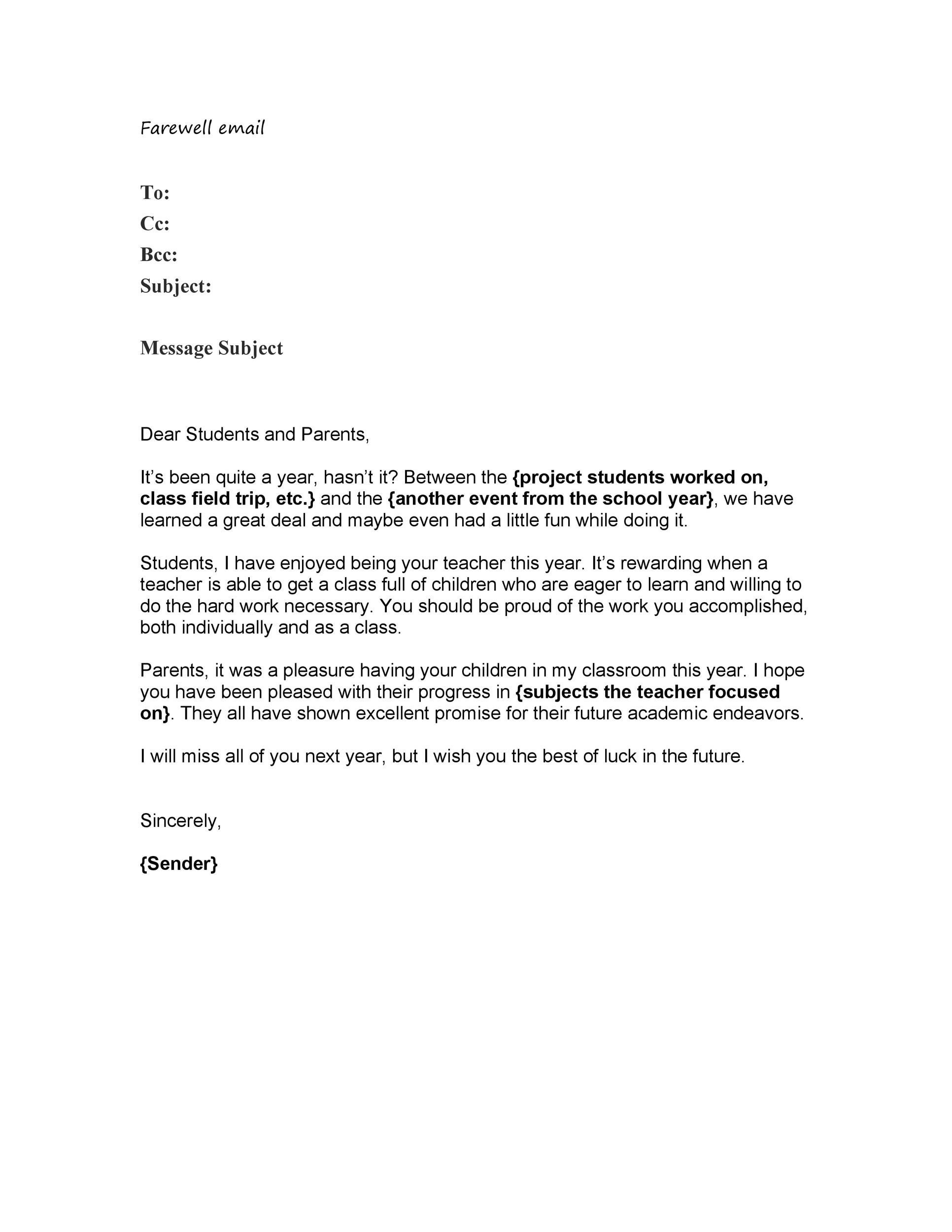 Free farewell email template 17