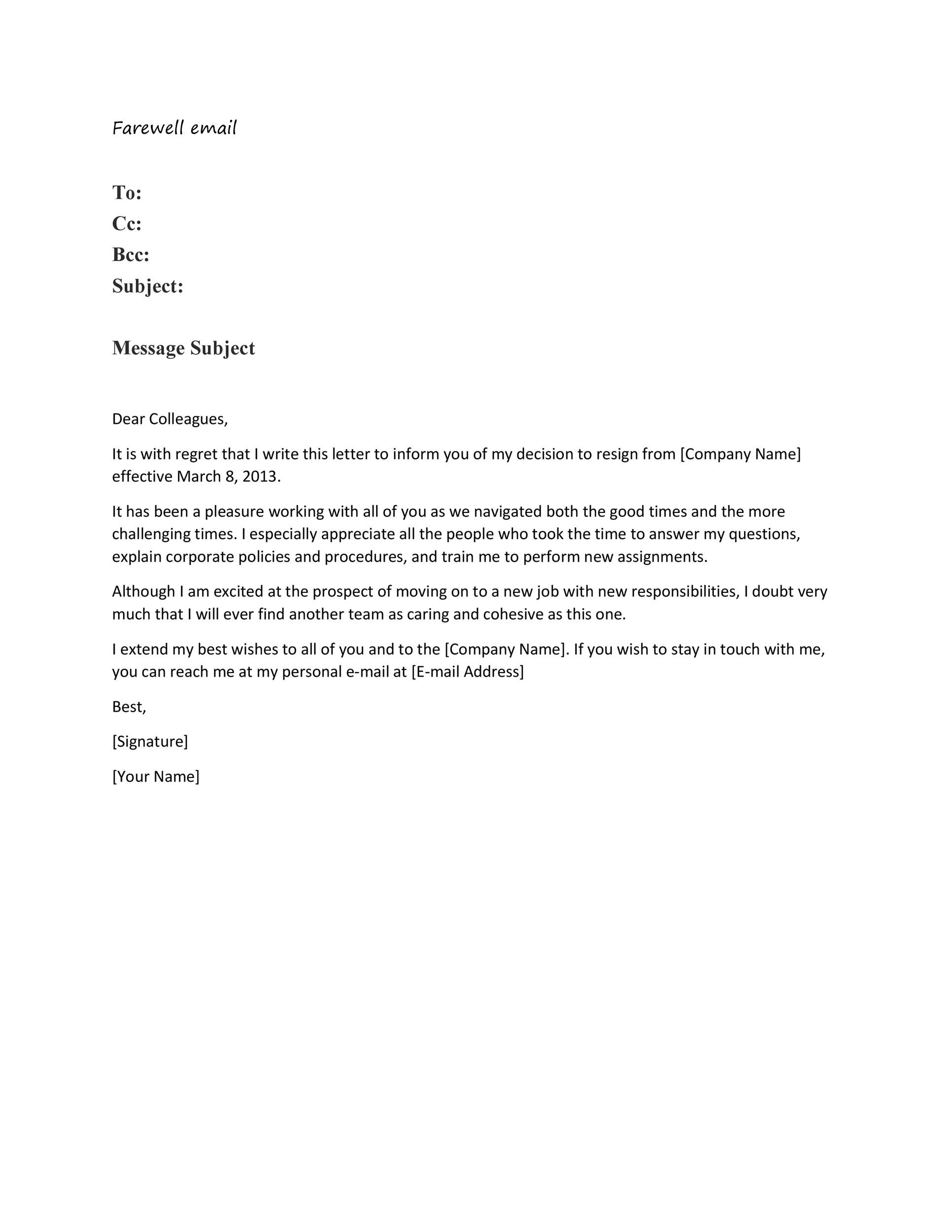 Free farewell email template 20