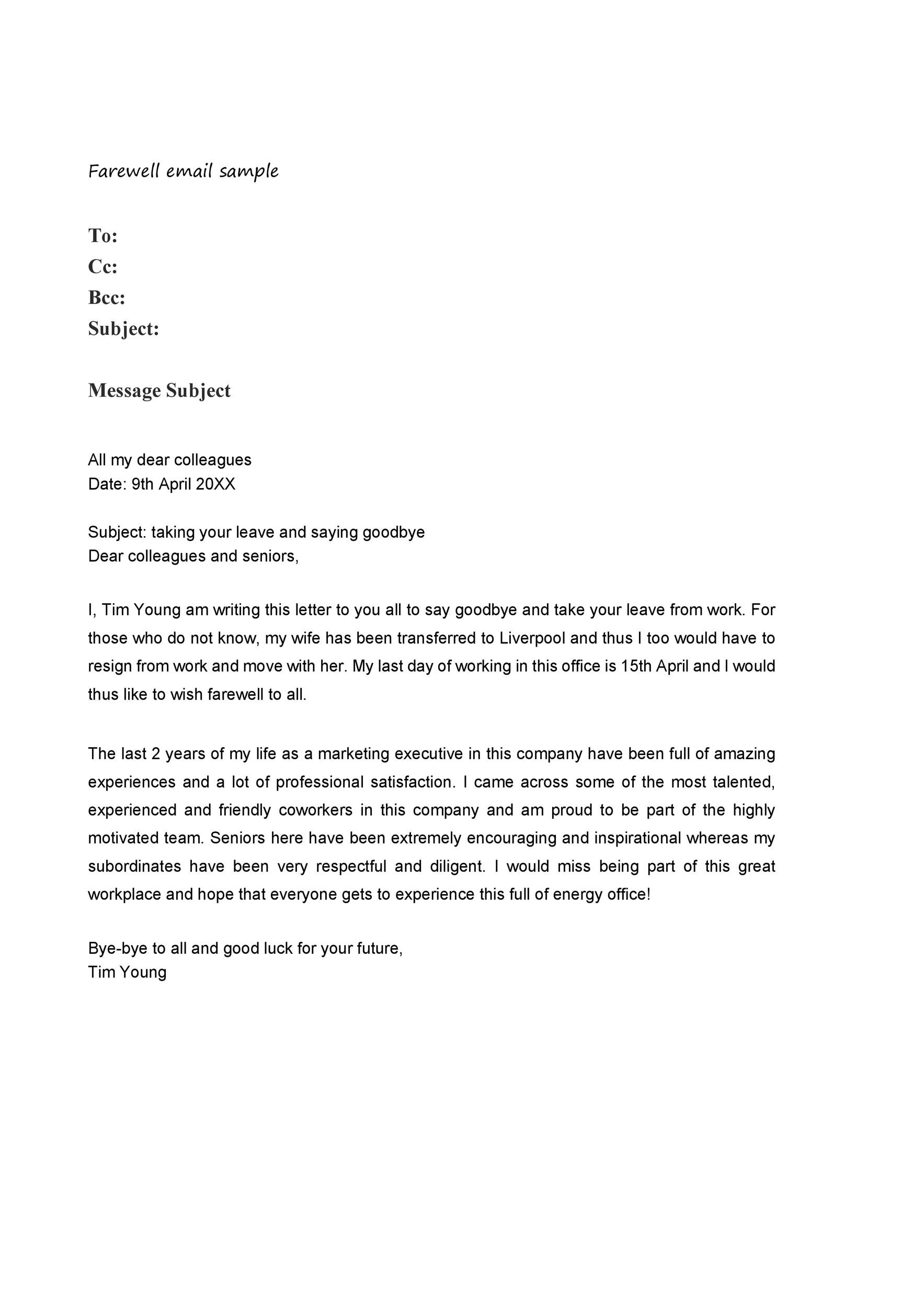 goodbye letter at work 40 farewell email templates to coworkers ᐅ template lab 21978 | farewell email template 21