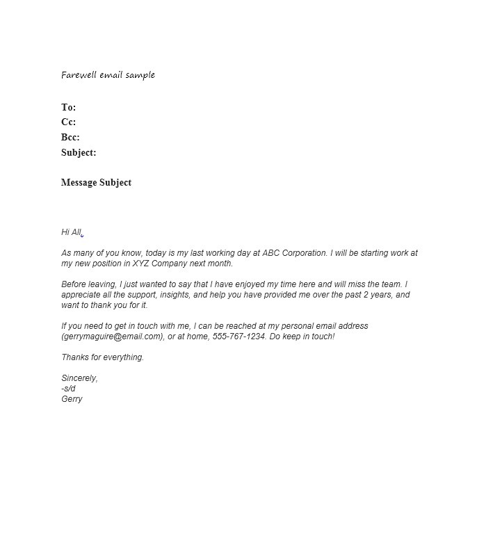 Free farewell email template 26