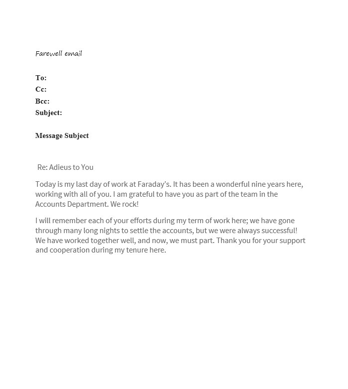 40 Farewell Email Templates To Coworkers Template Lab